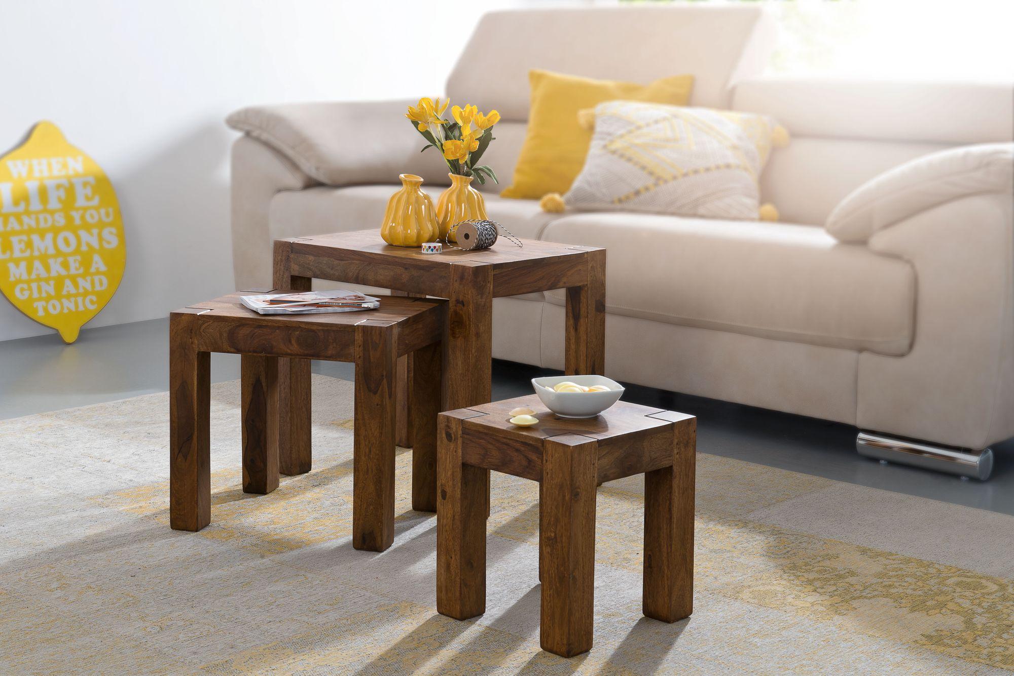 Finebuy Design Sheesham 3 Teiliger Satz Beistell Tisch Massivholz