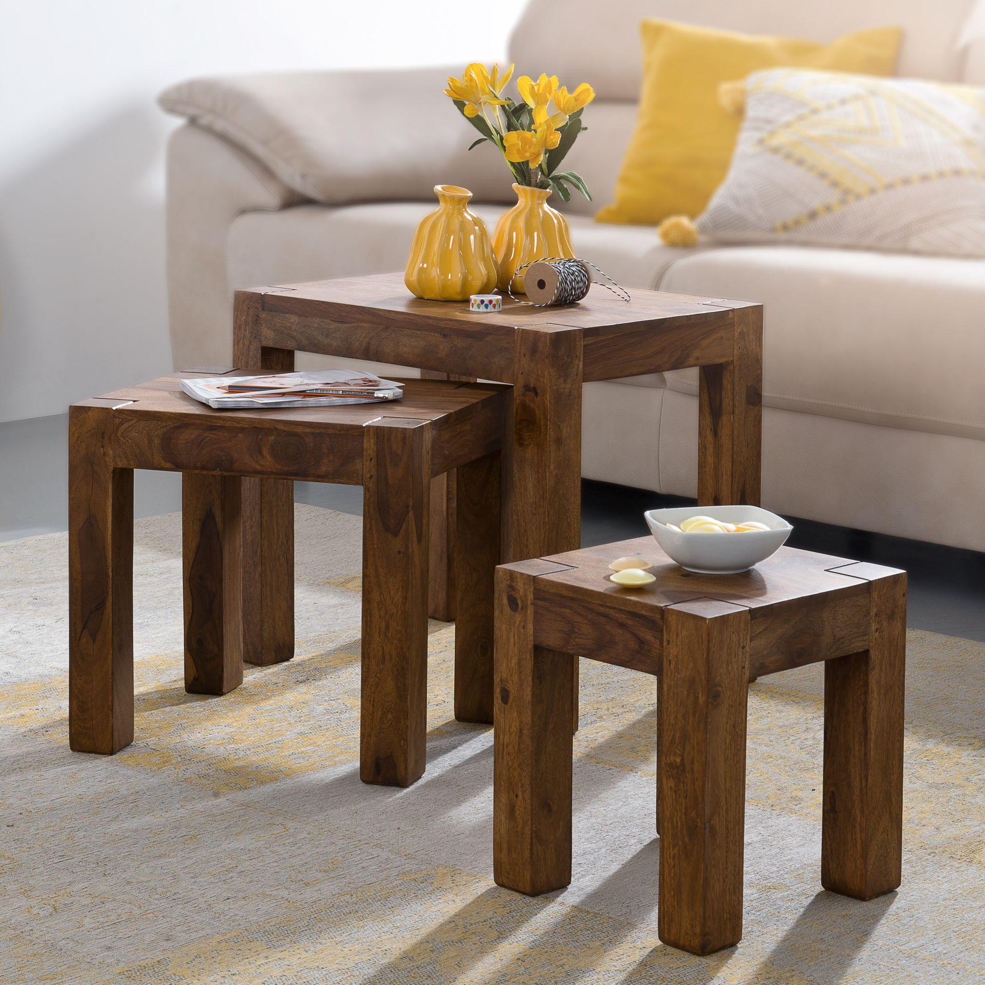FineBuy 3er Set Satztisch Massiv Holz Sheesham Wohnzimmer Tisch Landhaus  Stil Beistelltisch Dunkel