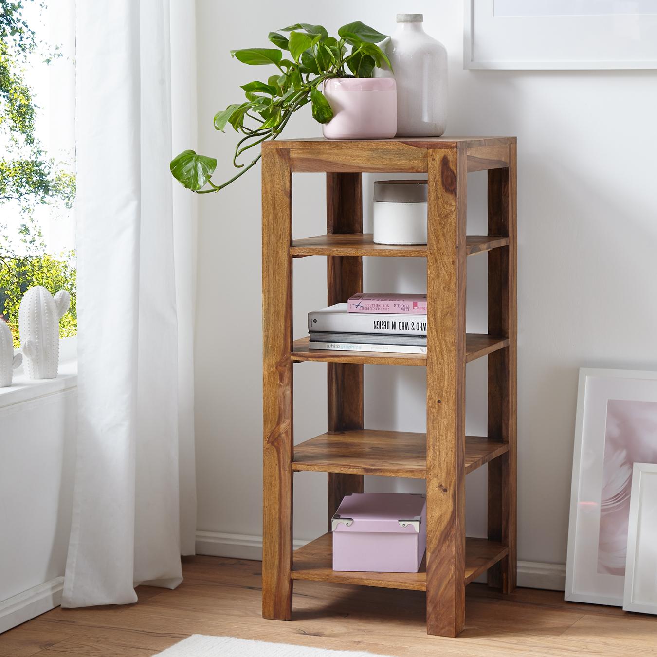 FineBuy Standregal Massiv-Holz Sheesham 8 cm Wohnzimmer-Regal mit 8  Ablagefächer Design Landhaus-Stil Beistelltisch