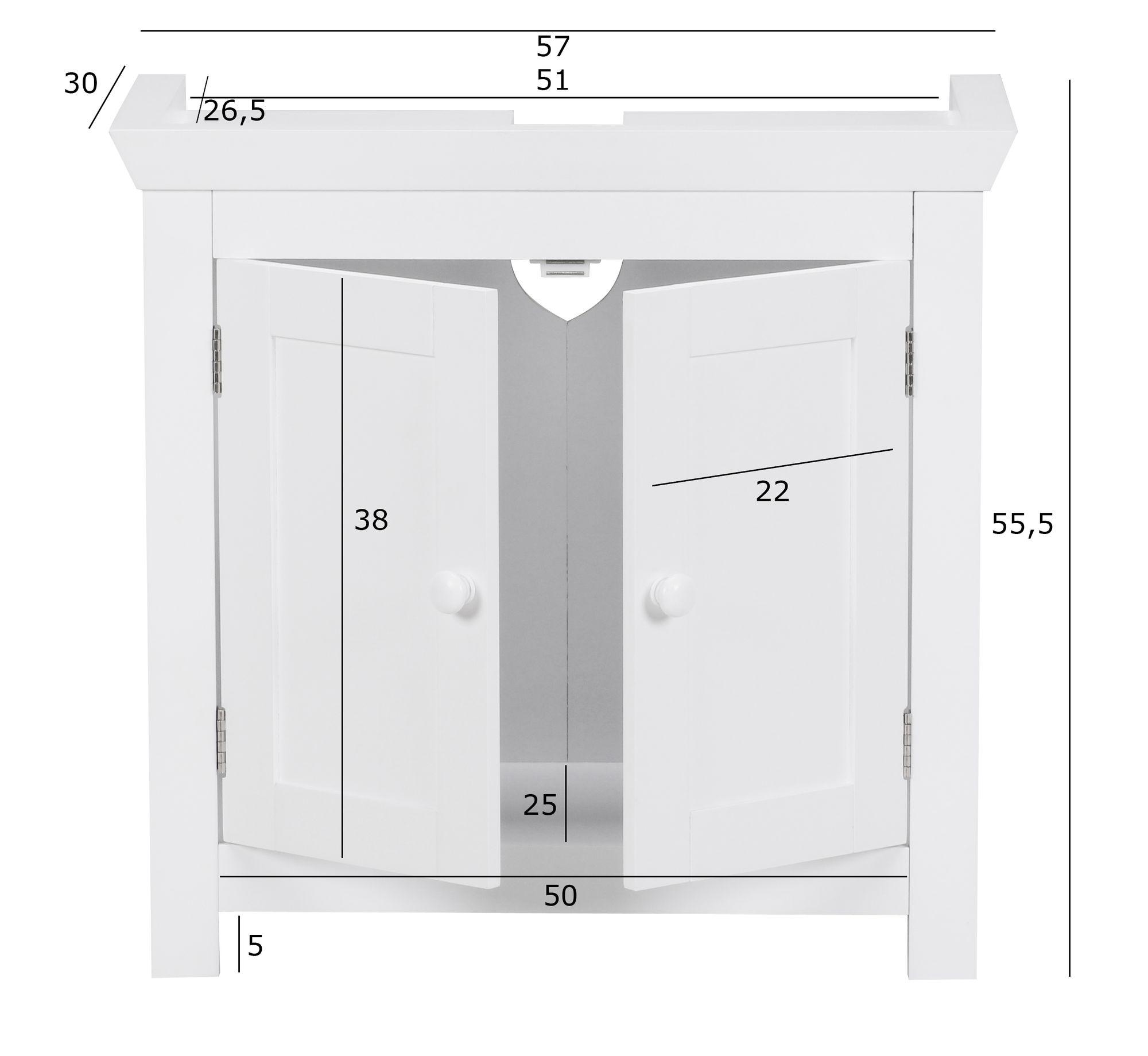 Finebuy Waschbeckenunterschrank Fb37103 Unterschrank Weiss 57 Cm