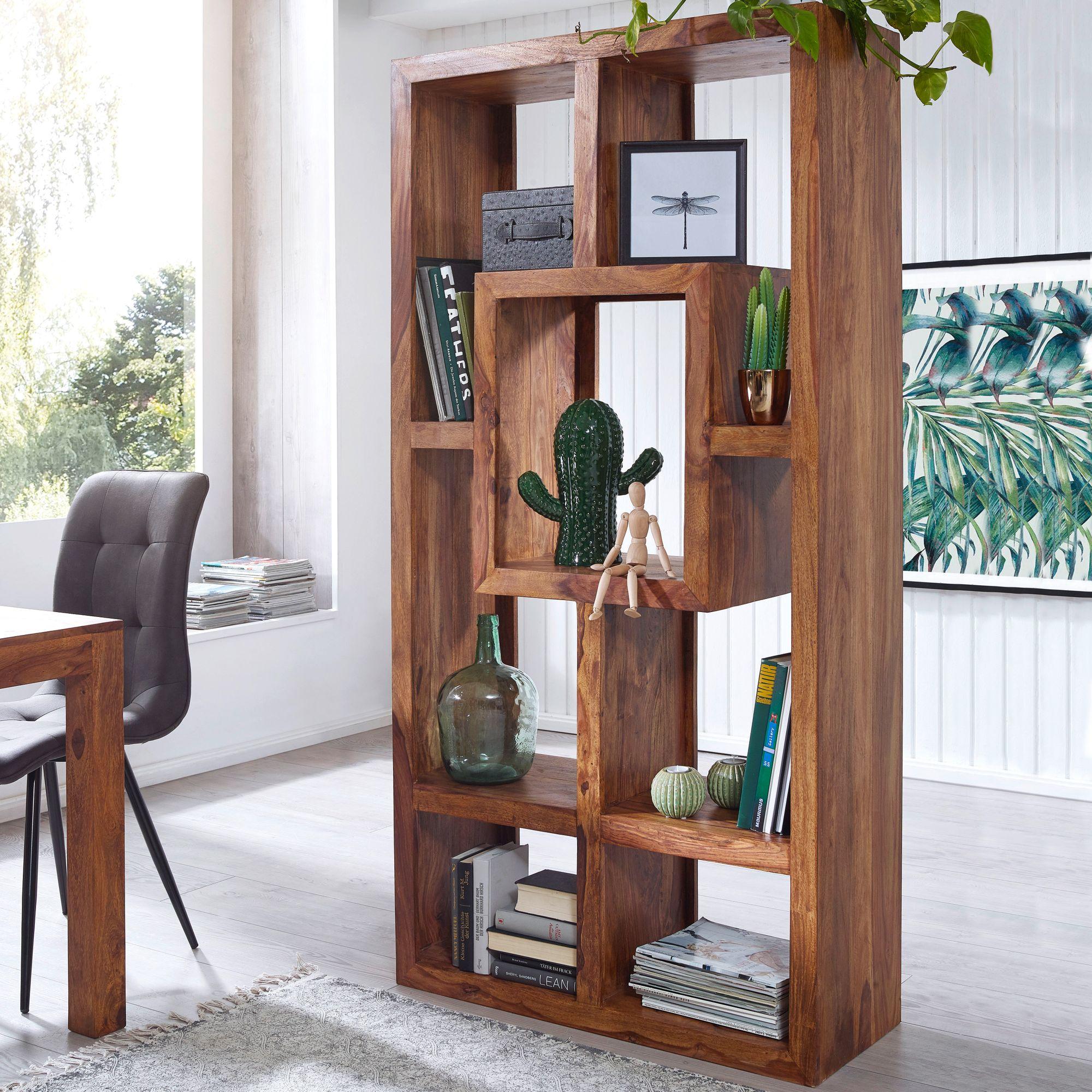 FineBuy Bücherregal Massiv-Holz Sheesham 3 x 3 cm Wohnzimmer-Regal  Ablagefächer Design Landhaus-Stil Standregal