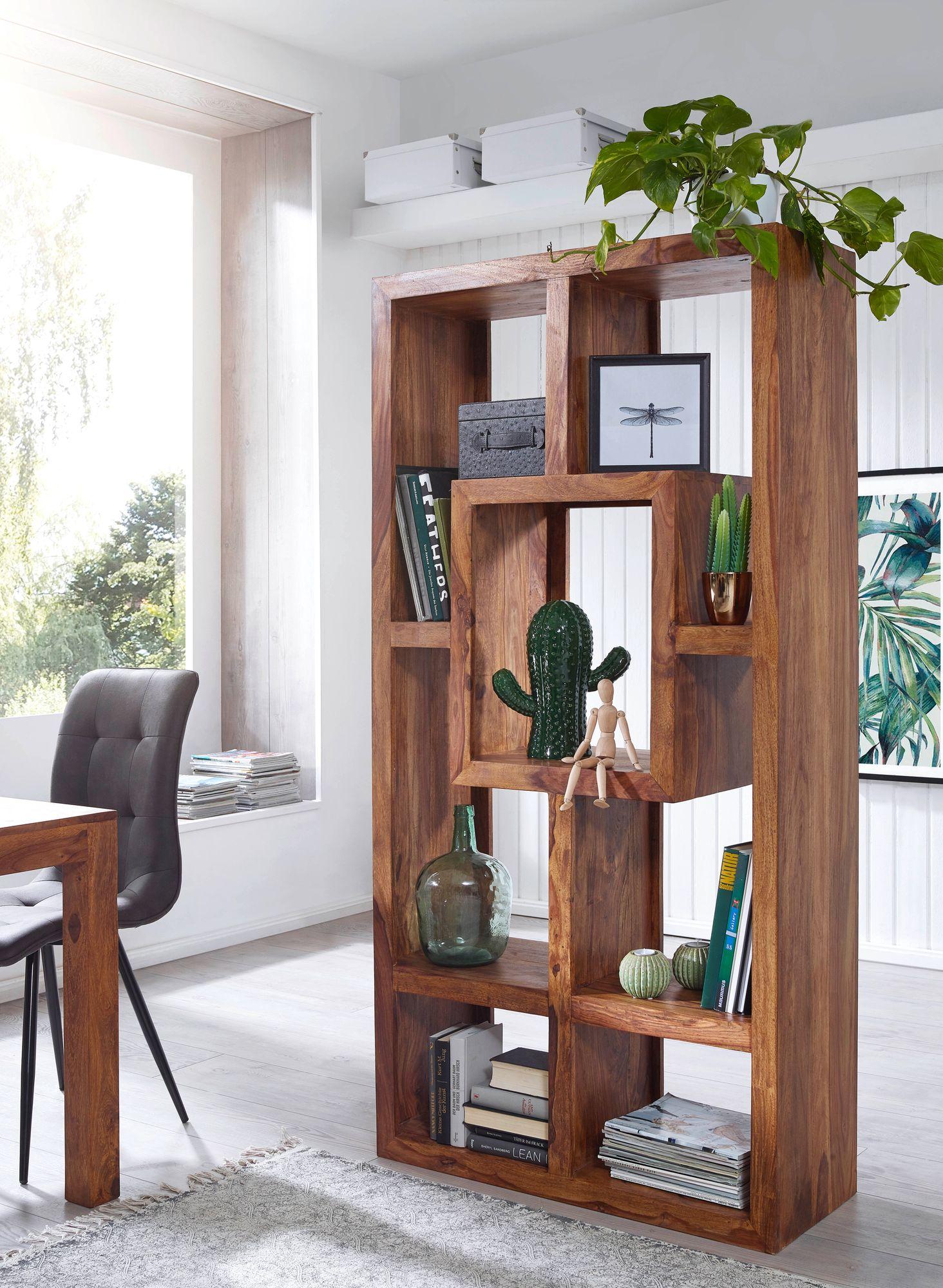 FineBuy Bücherregal Massiv-Holz Sheesham 8 x 8 cm Wohnzimmer-Regal  Ablagefächer Design Landhaus-Stil Standregal