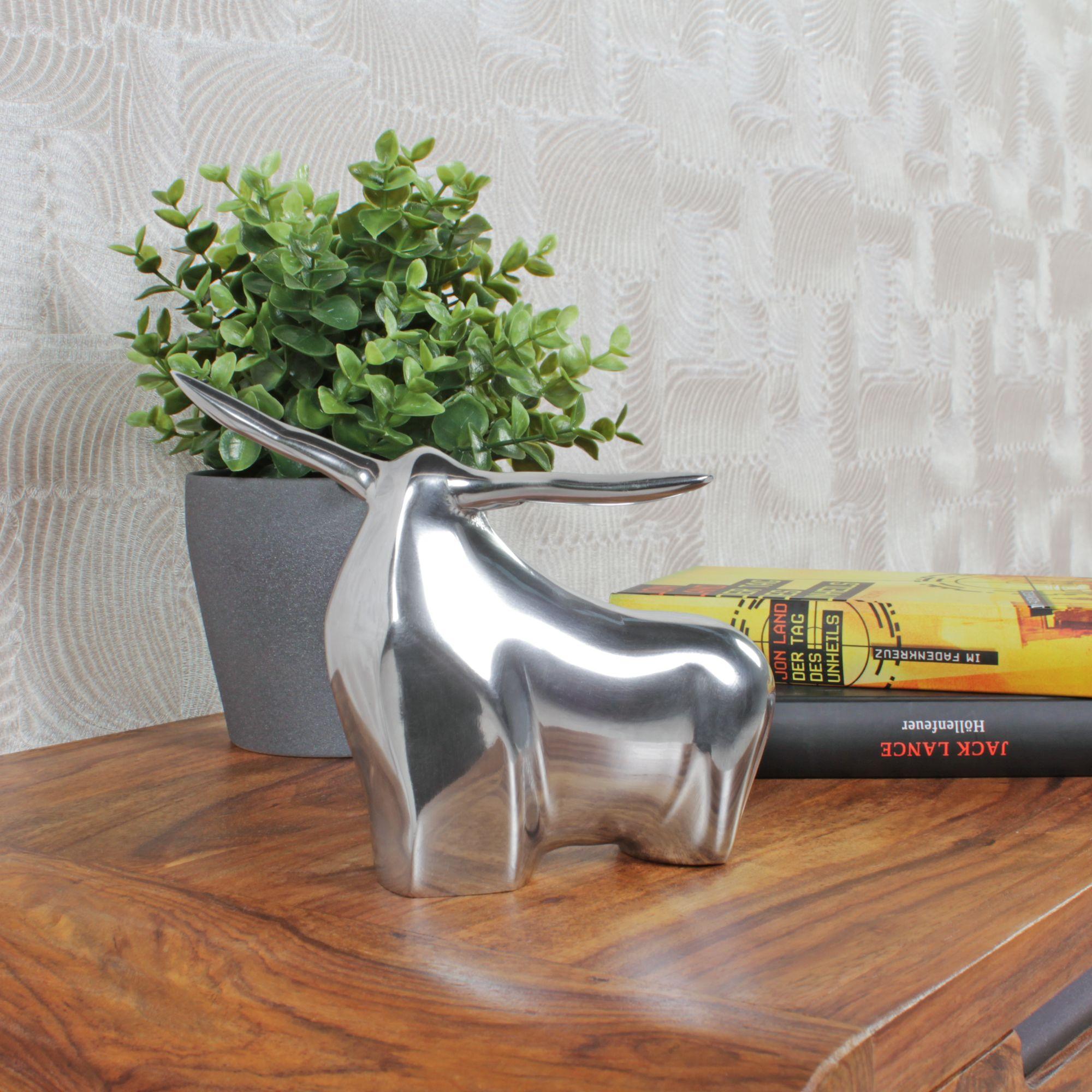 FineBuy Design Pokal Aluminium Dekoration Kelch Silber Alu Dekofigur Modern