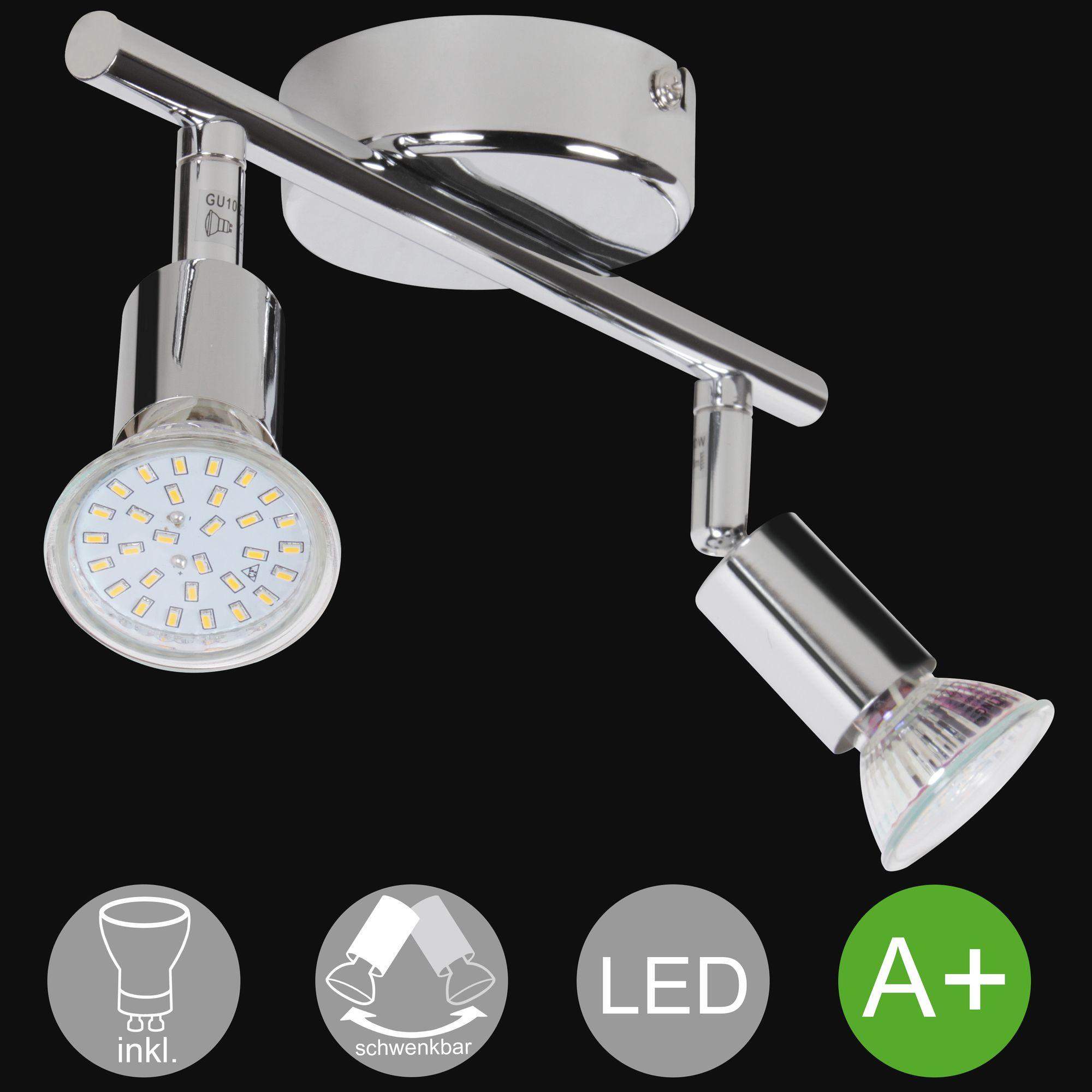 2-flammiger LED-Strahler Deckenlampe Wandlampe inkl. 2x3W Leuchtmittel  (EEK: A+)