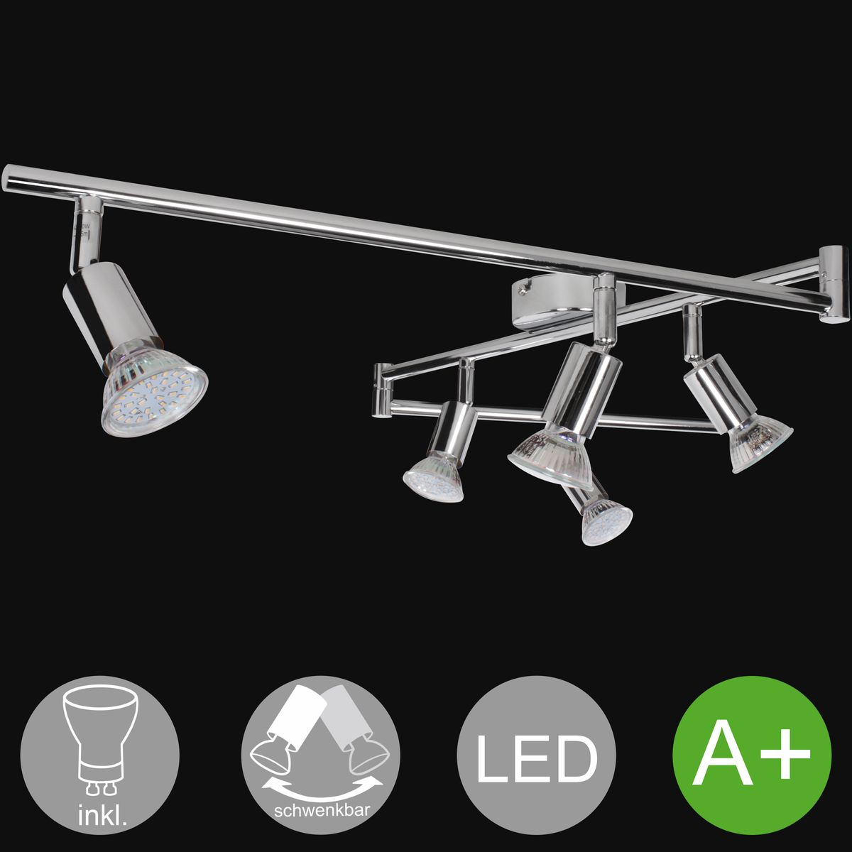 6 flammiger led strahler warmwei eek a inkl 6x3 watt for Deckenlampe led strahler