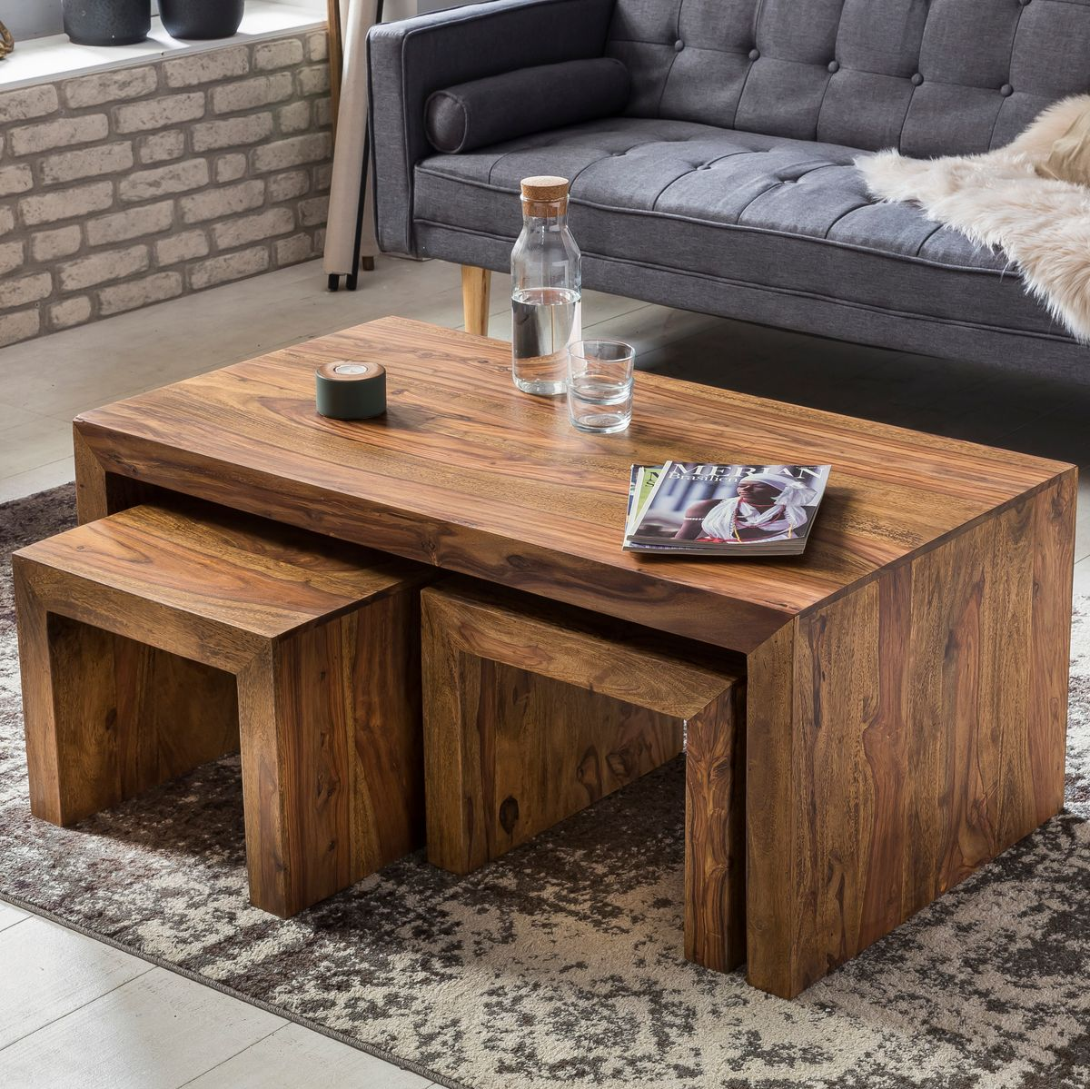 finebuy sheesham couchtisch massivholz mit 2 hocker massiv wohnzimmertisch neu ebay. Black Bedroom Furniture Sets. Home Design Ideas