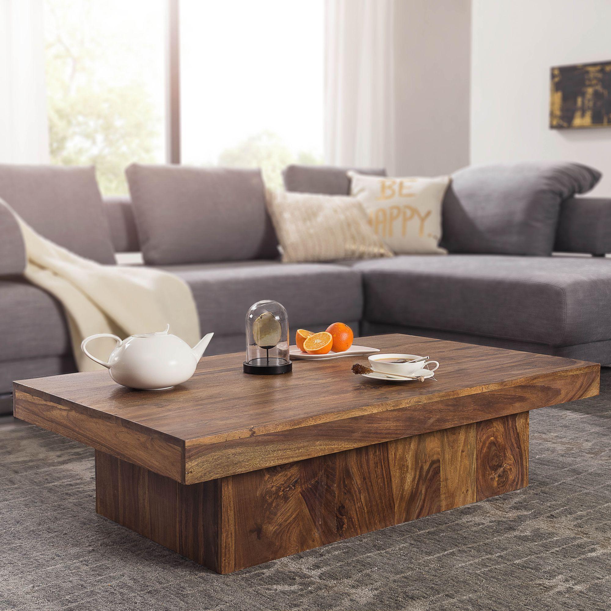 FineBuy Design Couchtisch KOTA Sheesham Holz 120 X 70 X 30 Cm Flach |  Moderner Wohnzimmertisch