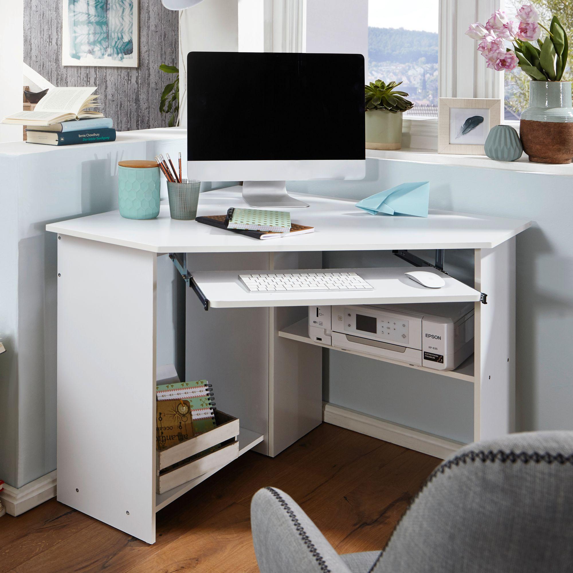 eckschreibtisch b ro schreibtisch computertisch wei mit. Black Bedroom Furniture Sets. Home Design Ideas
