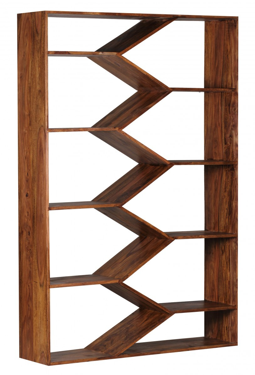 Holz bücherregal  FineBuy Bücherregal Massiv-Holz Sheesham 120 x 180 cm Wohnzimmer ...