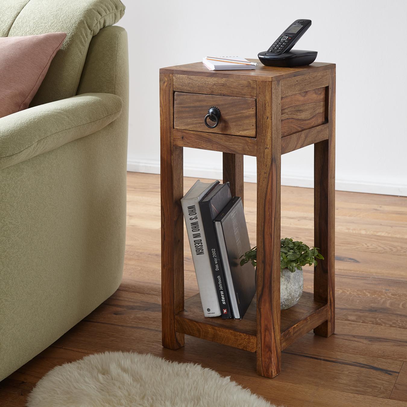 Wunderbar FineBuy Beistelltisch Massiv Holz Sheesham 68 Cm Hoch Wohnzimmer Tisch Mit  Schublade Design Landhaus