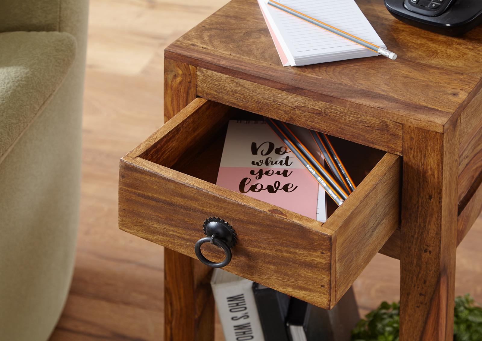 FineBuy Beistelltisch Massiv Holz Sheesham 68 Cm Hoch Wohnzimmer Tisch Mit  Schublade Design Landhaus