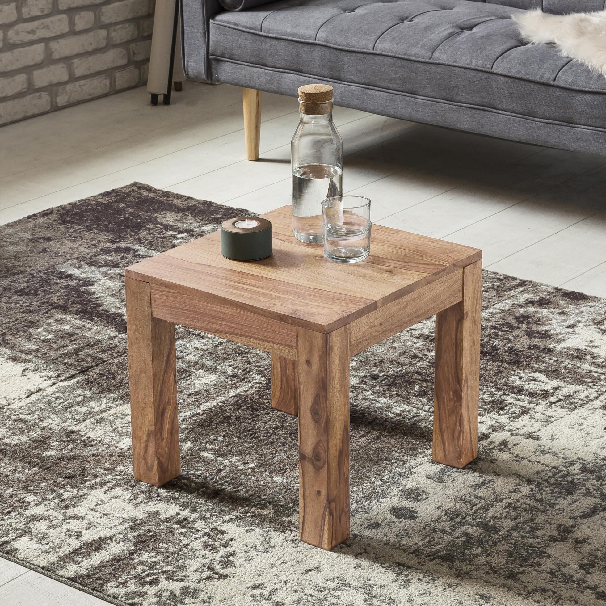 wohnling couchtisch massiv holz akazie 45 cm breit wohnzimmer tisch design braun landhaus stil. Black Bedroom Furniture Sets. Home Design Ideas