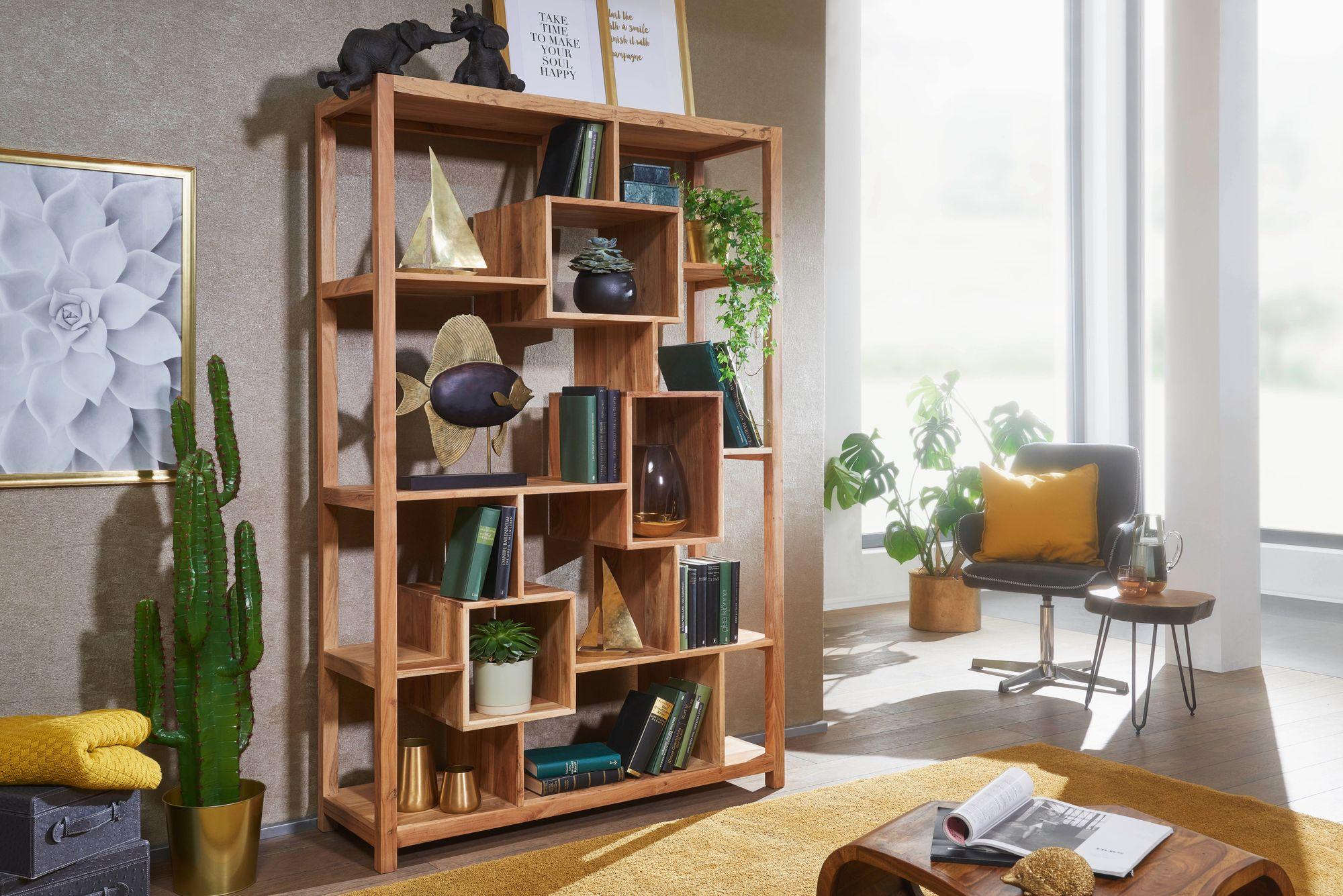 WOHNLING Bücherregal MUMBAI Massivholz Akazie 180 cm Massivholz Regal  Raumteiler Neu