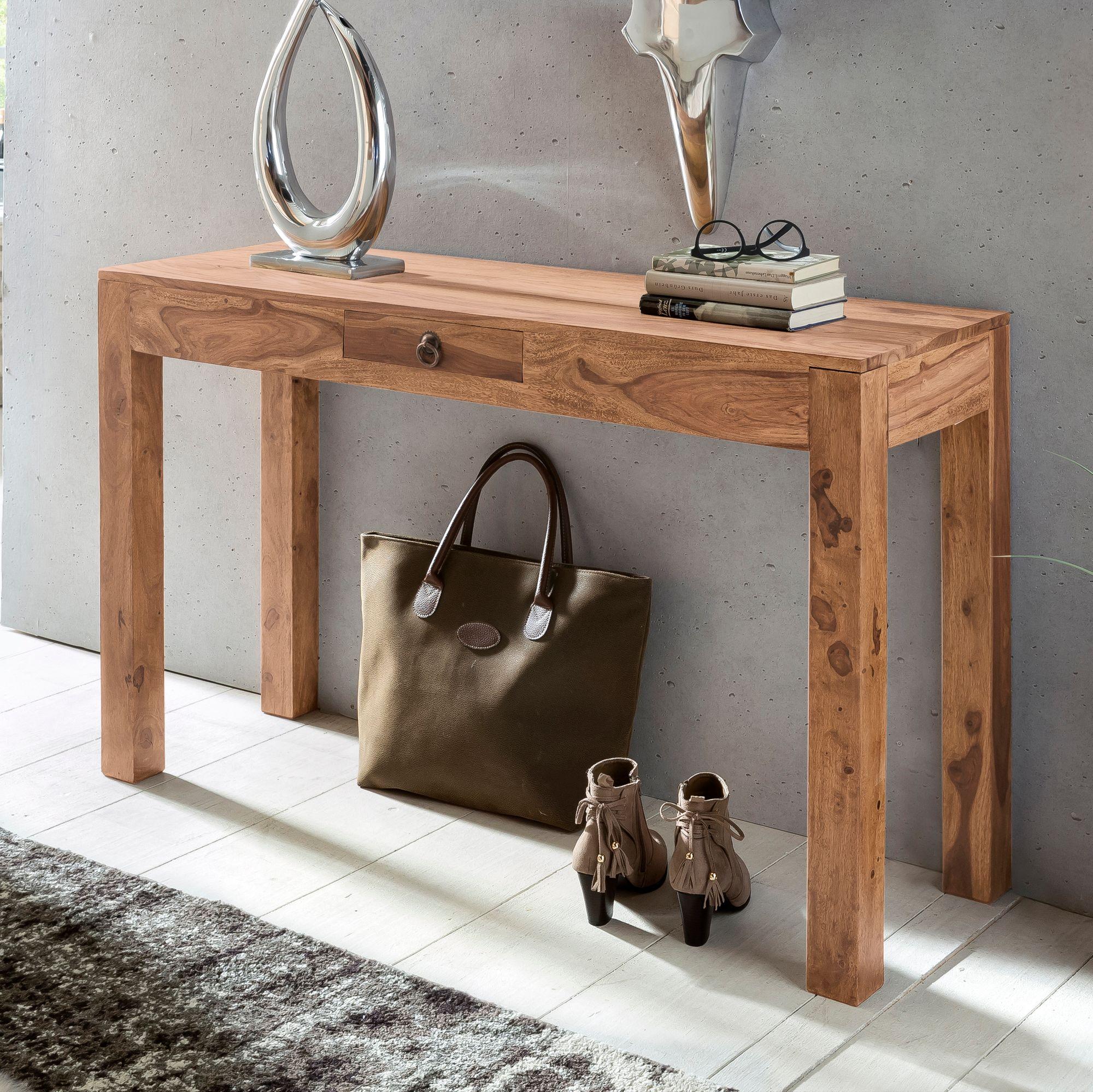 wohnling konsolentisch mumbai massivholz akazie konsole mit 1 schublade schreibtisch 120 x 40 cm. Black Bedroom Furniture Sets. Home Design Ideas