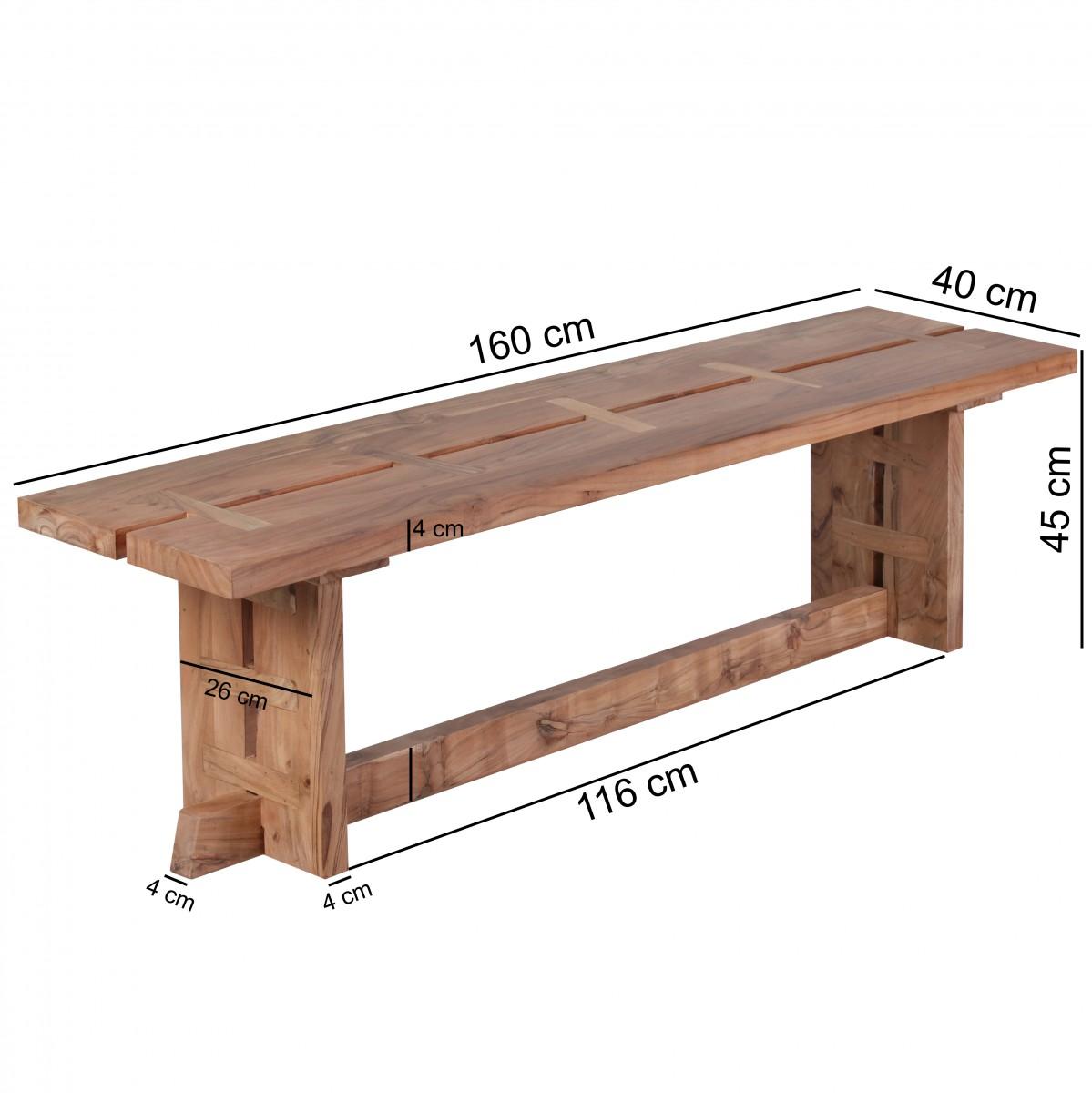 Wohnling salle banc en bois massif acacia banc de cuisine - Banc de cuisine en bois ...