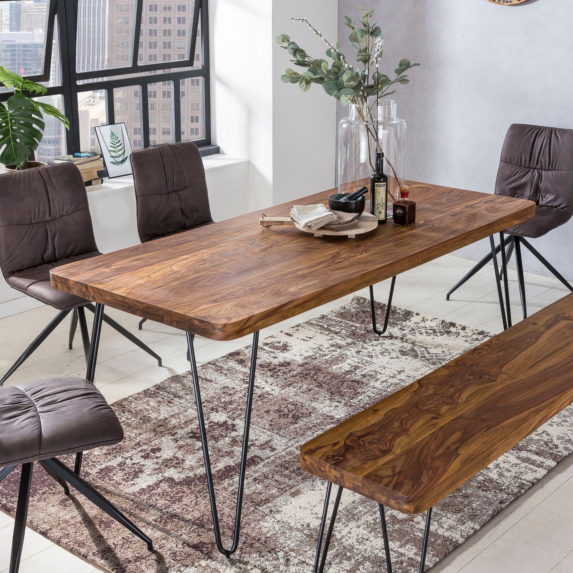 WOHNLING Esstisch BAGLI Massivholz Sheesham 160 Cm Esszimmer Tisch  Holztisch Metallbeine Küchentisch Landhaus Dunkel