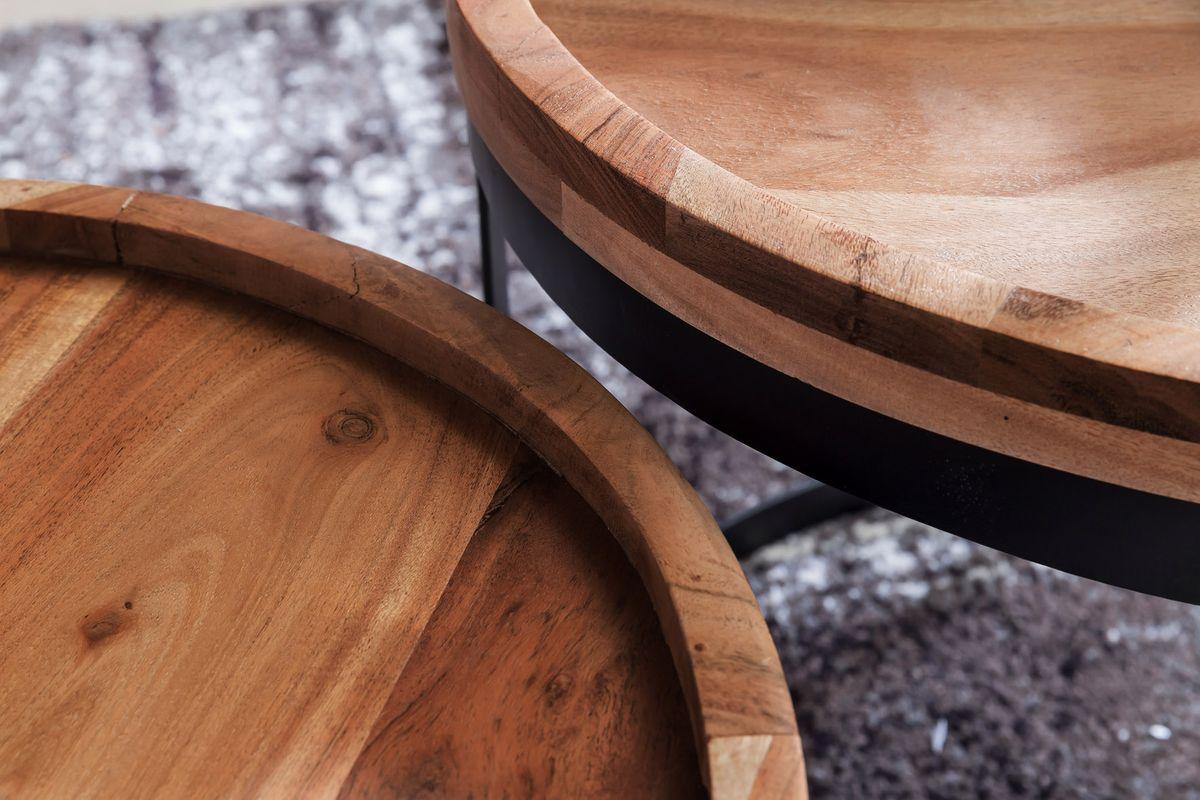 Wohnling 2er set beistelltische akola massivholz sheesham for Wohnzimmertisch naturholz