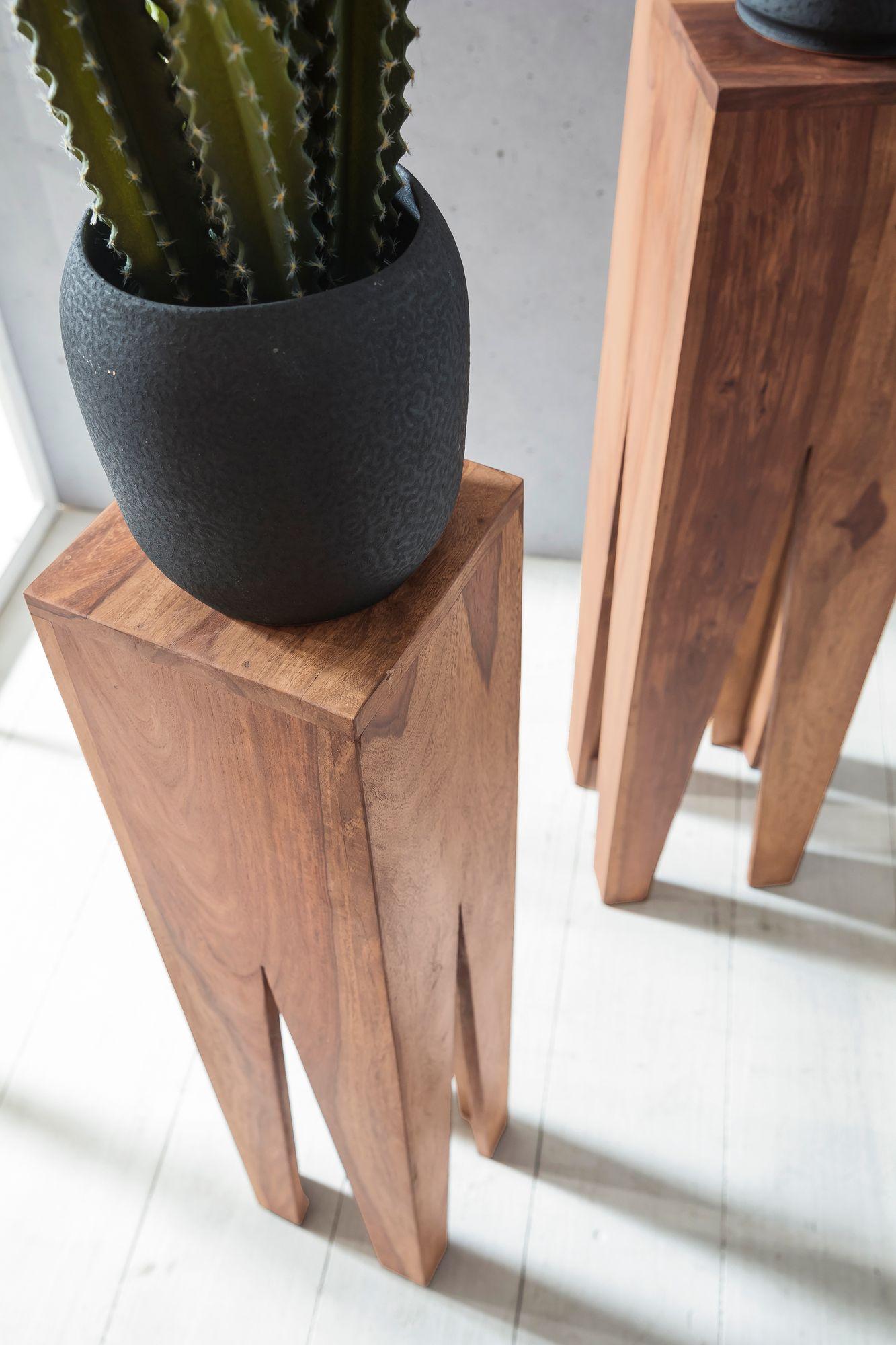 WOHNLING Beistelltisch 3er Set KADA Massivholz Akazie Wohnzimmer Tisch  Design Säulen Landhausstil Couchtisch Quadratisch