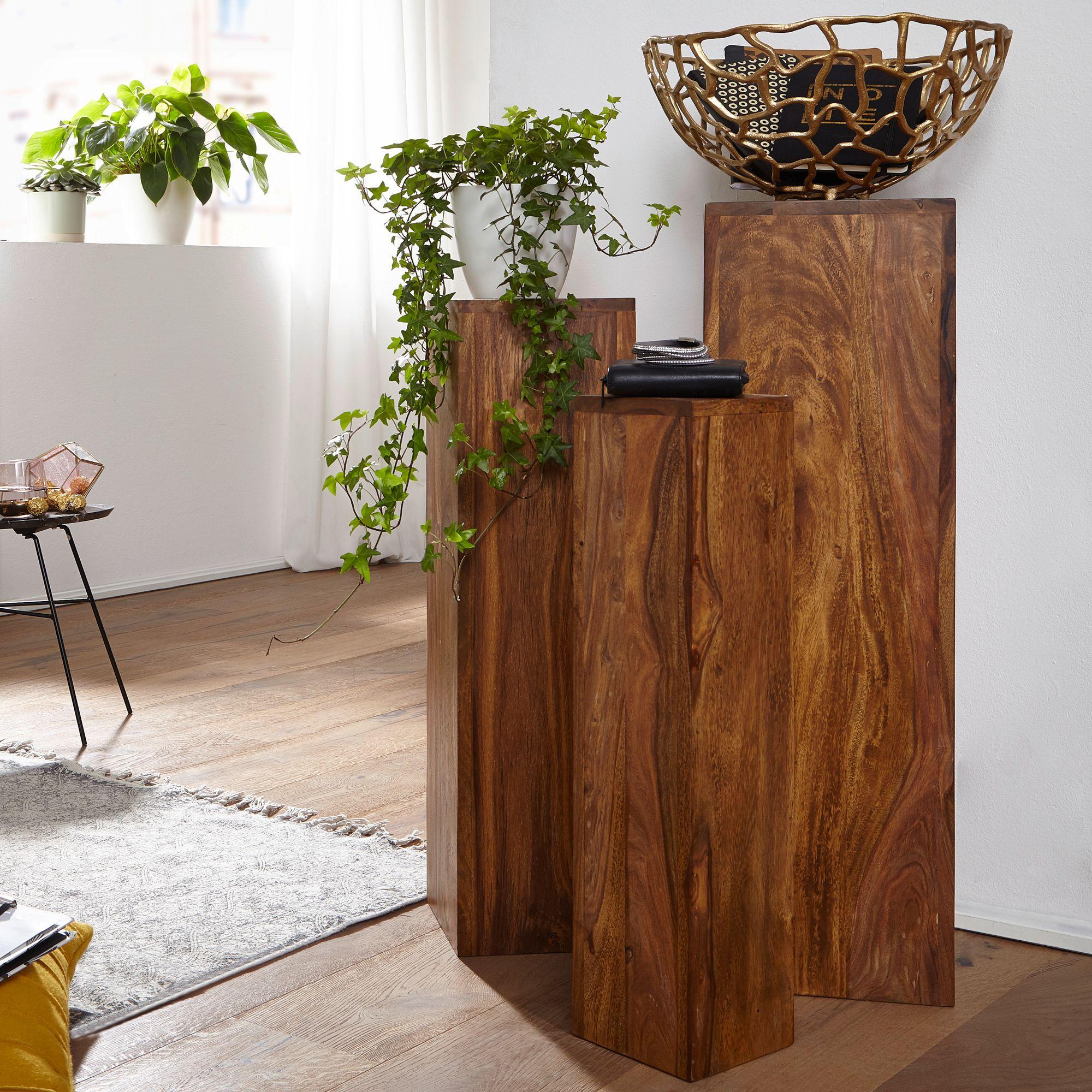 WOHNLING Beistelltisch 8er Set WL8.8 Massivholz 8,8x88x8,8 cm Sheesham  Tische  Holztisch Natur-Produkt  Echtholz Beistelltische Dekosäulen