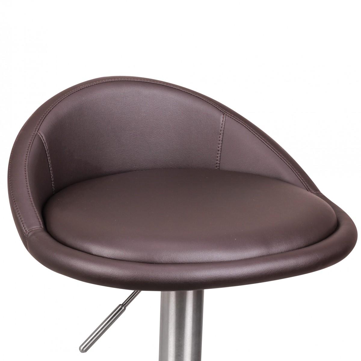Wohnling Barhocker Wl1 602 Braun Edelstahl Hohenverstellbare Sitzhohe 54 79 Cm Design Barstuhl Mit Ruckenlehne