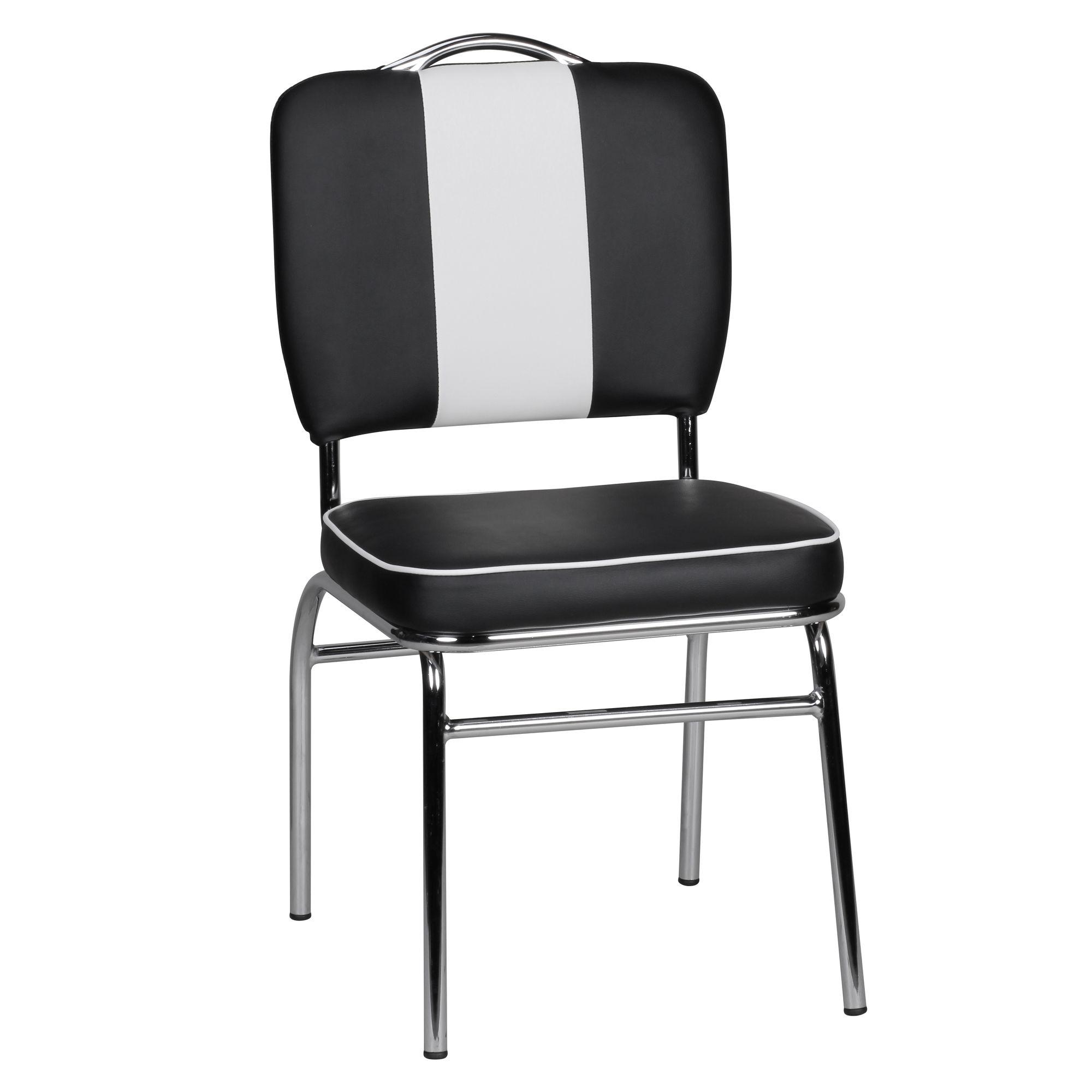 American Schwarz Sessel Stuhl Kunstleder Retro Esszimmerstuhl Weiß Gepolstert Diner rCBdoex