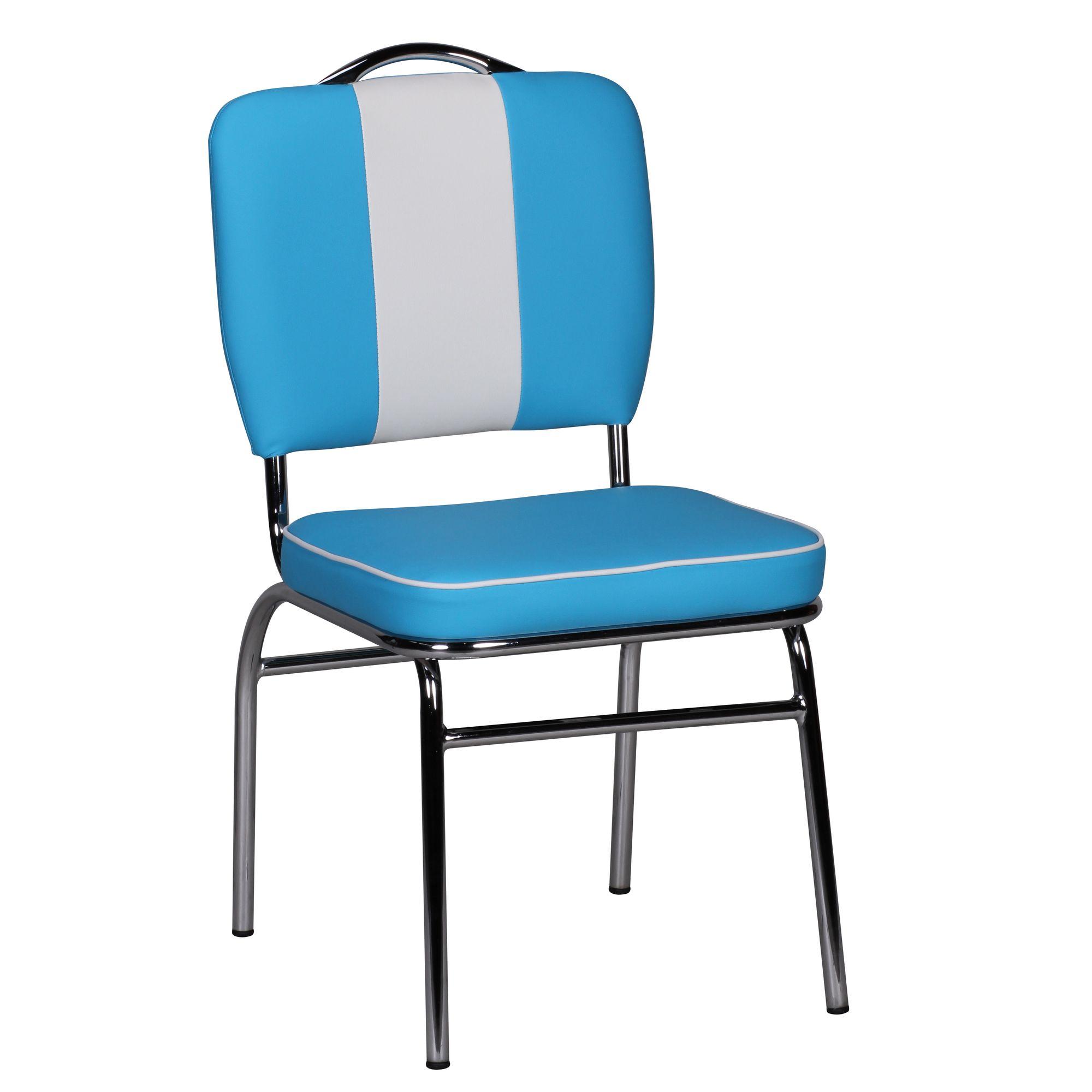 Wohnling Esszimmerstuhl American Diner 50er Jahre Retro Blau Weiß Stuhl  Sessel