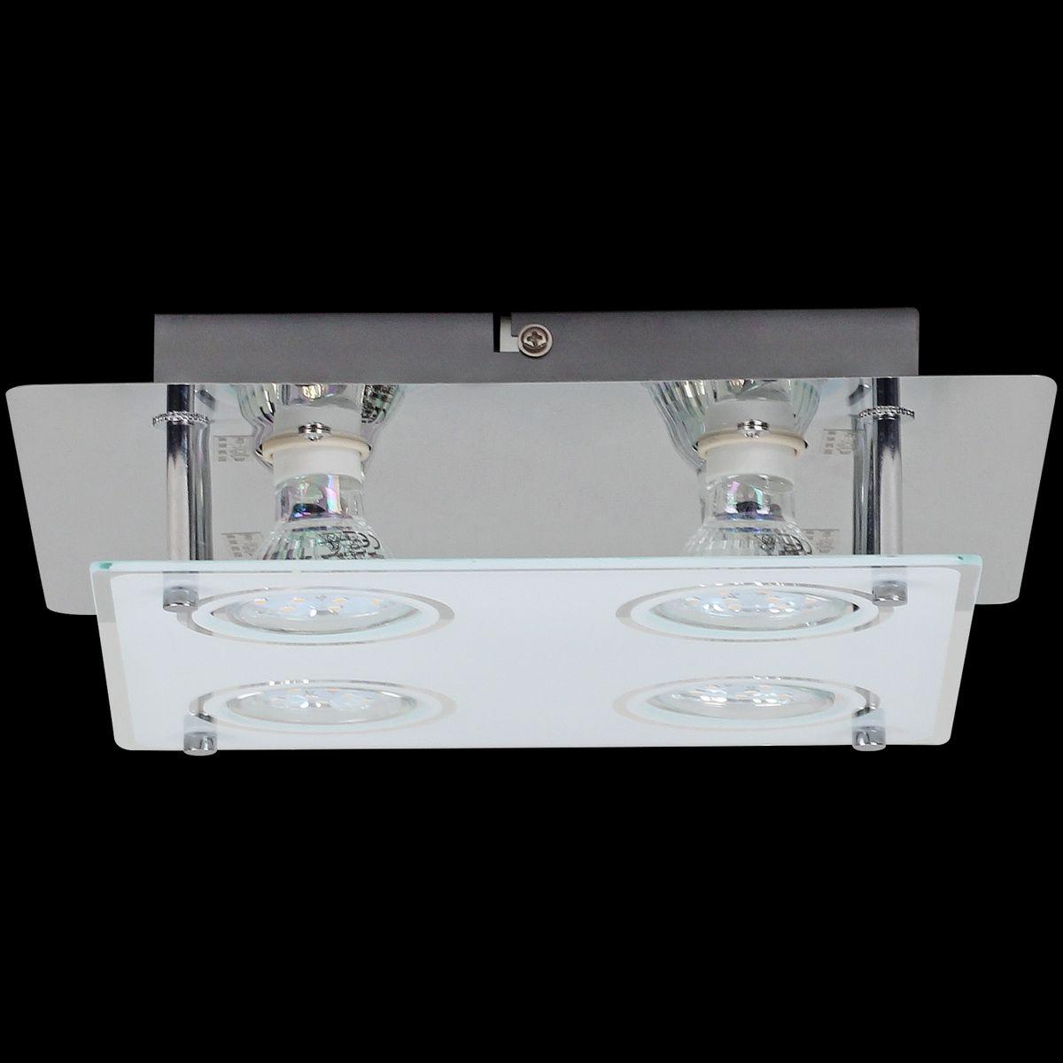 wohnling 4 flammige led deckenlampe gu10 quadratisch inkl 4x 3 watt leuchtmittel. Black Bedroom Furniture Sets. Home Design Ideas