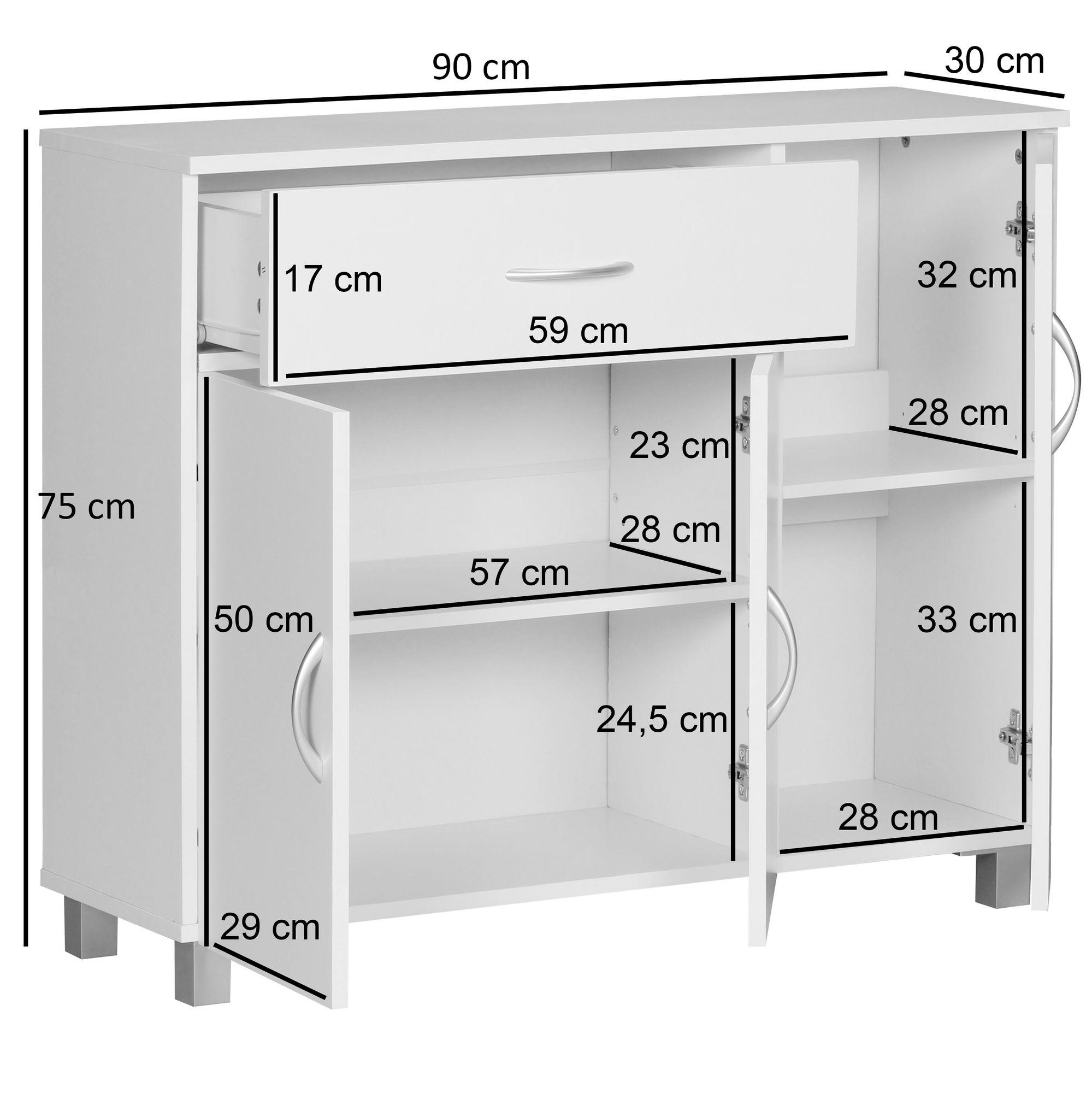 Finebuy Design Sideboard Jerry 90 X 75 X 30 Cm Schrankchen Mit 1 Schublade 3