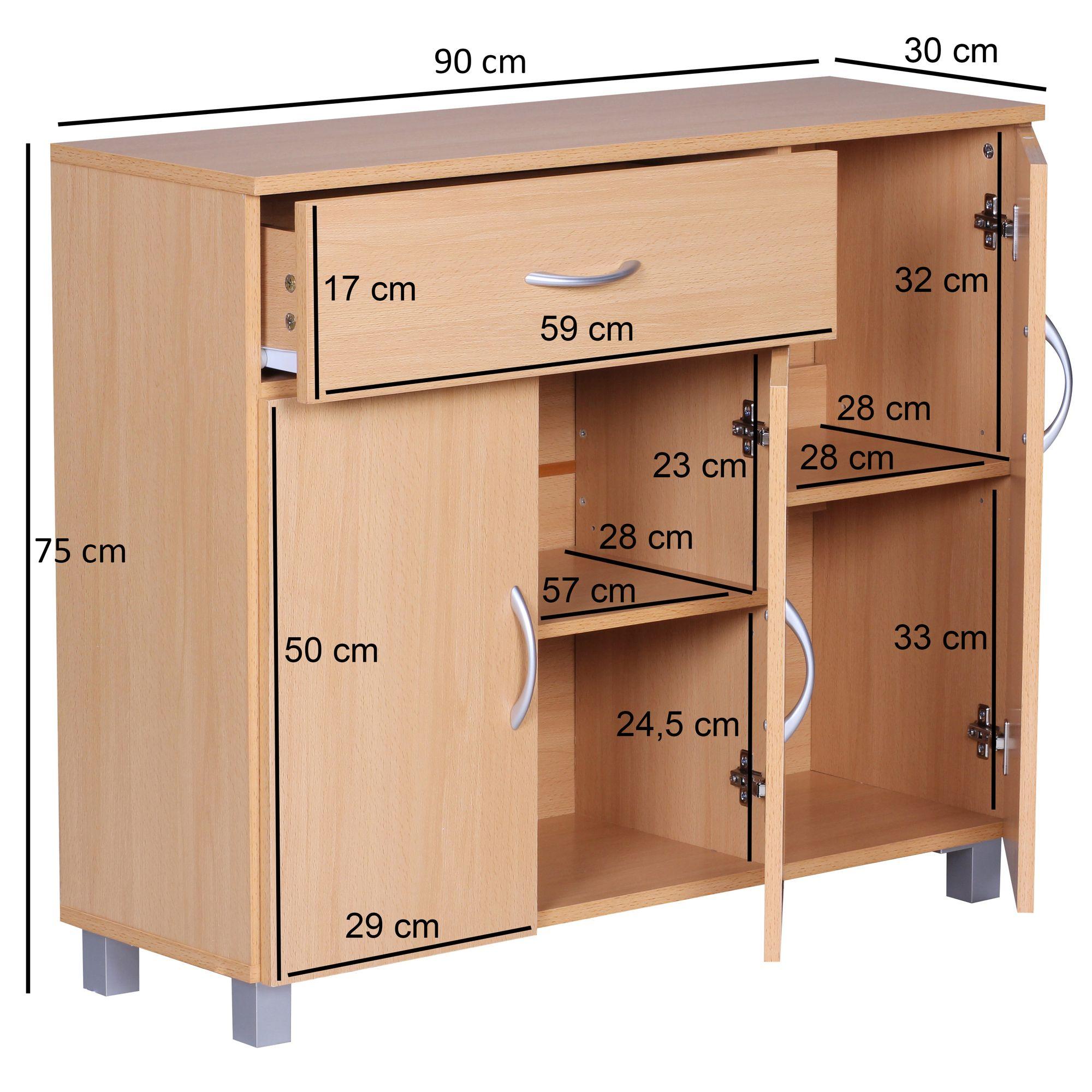 Finebuy Sideboard 90x75 Cm Kommode Anrichte 3 Turen 1 Schublade