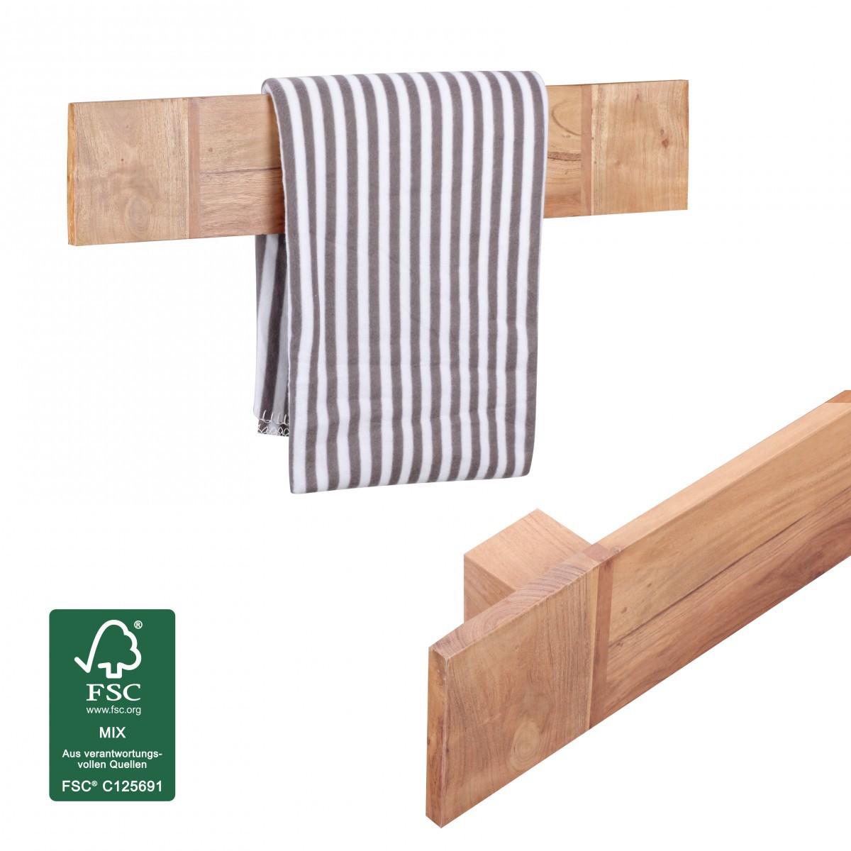 FineBuy Handtuchhalter Massivholz Akazie 80 Cm Wandregal Landhaus Stil Bad Zubehör  Badezimmer Möbel Natur Produkt 39856