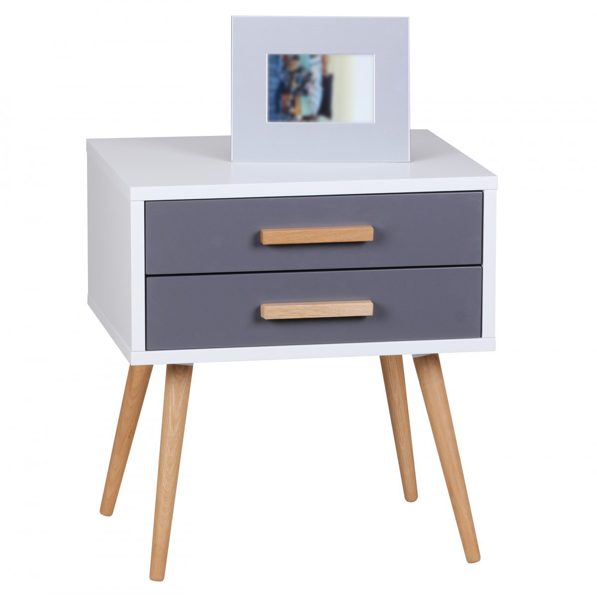 FineBuy Design Retro Nachttisch 50 X 40 X 50 Cm Weiß Grau Matt Mit 2  Schubladen
