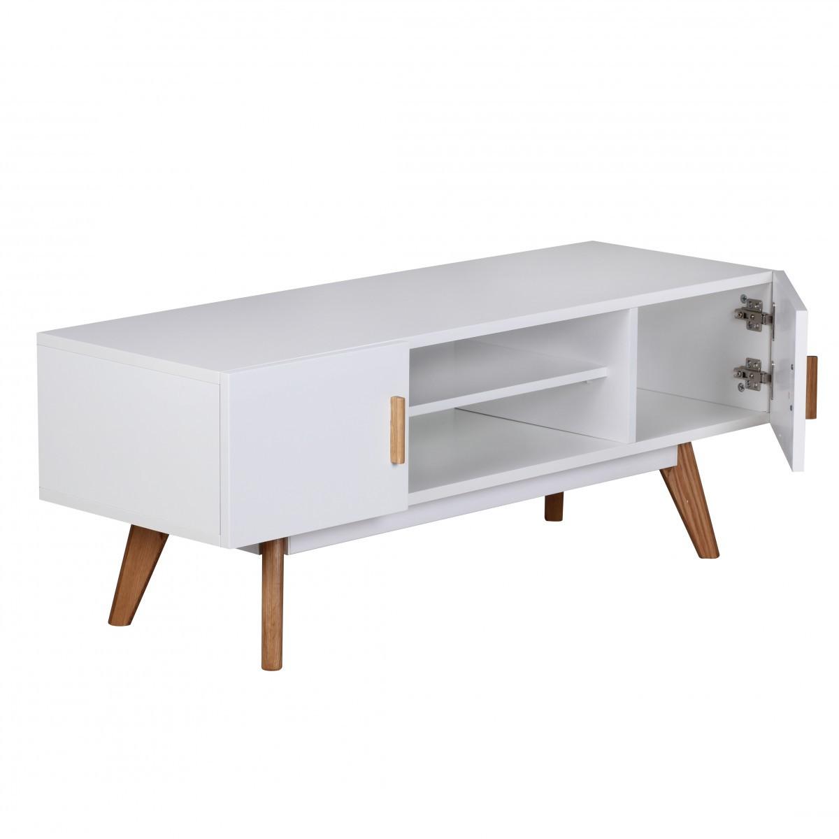TV Lowboard 120 cm MDF Holz Retro 2 Türen weiß HiFi Regal Fernseher ...