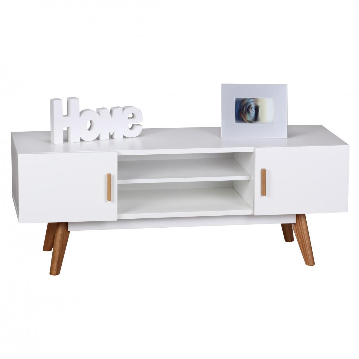Finebuy lowboard 120 cm fernsehschrank tv board 2 t ren fernsehekommode wei finebuy - Meuble tv 90 cm longueur ...