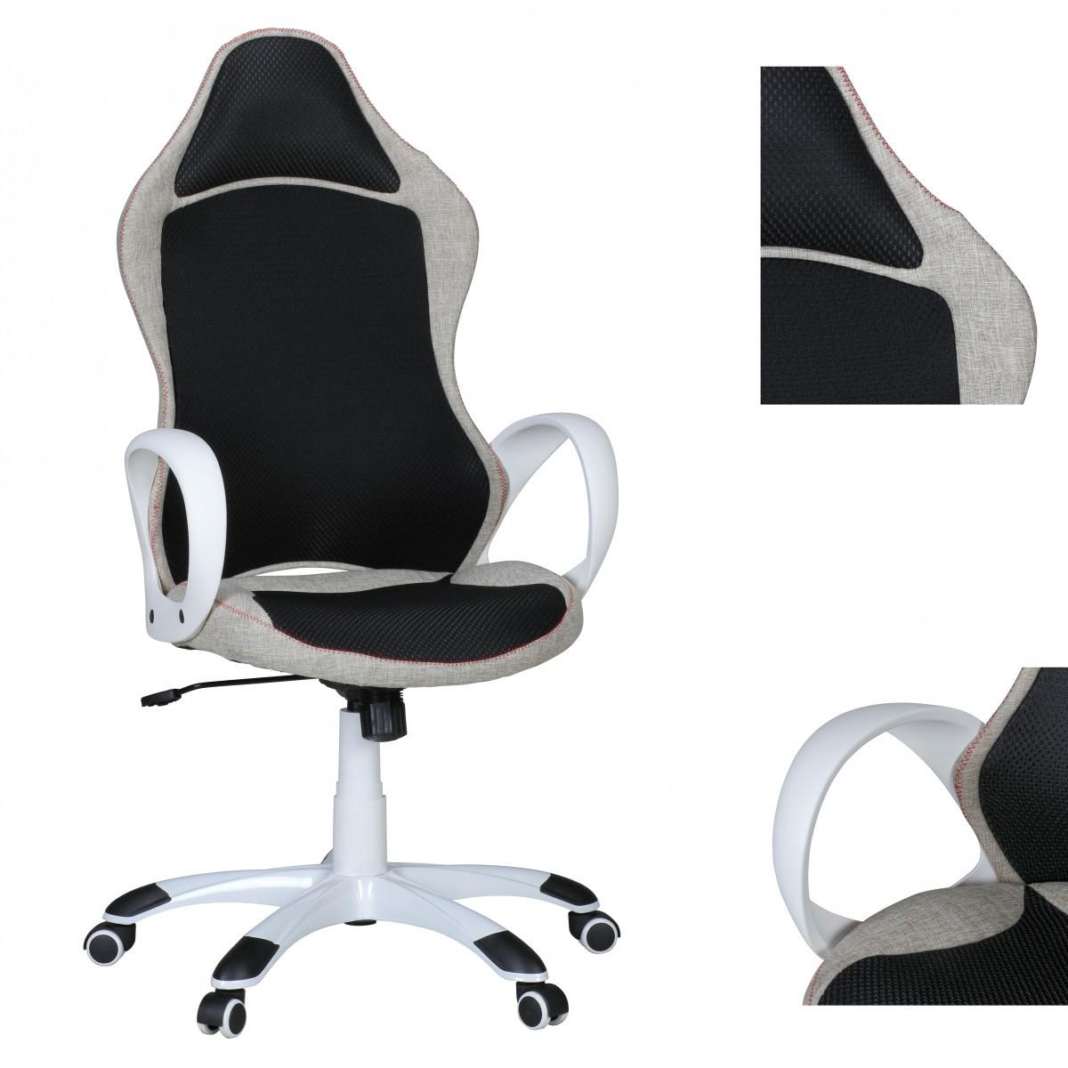 Schreibtischstuhl schwarz weiß  FineBuy Bürostuhl ROSO Stoffbezug Schreibtischstuhl Armlehne ...