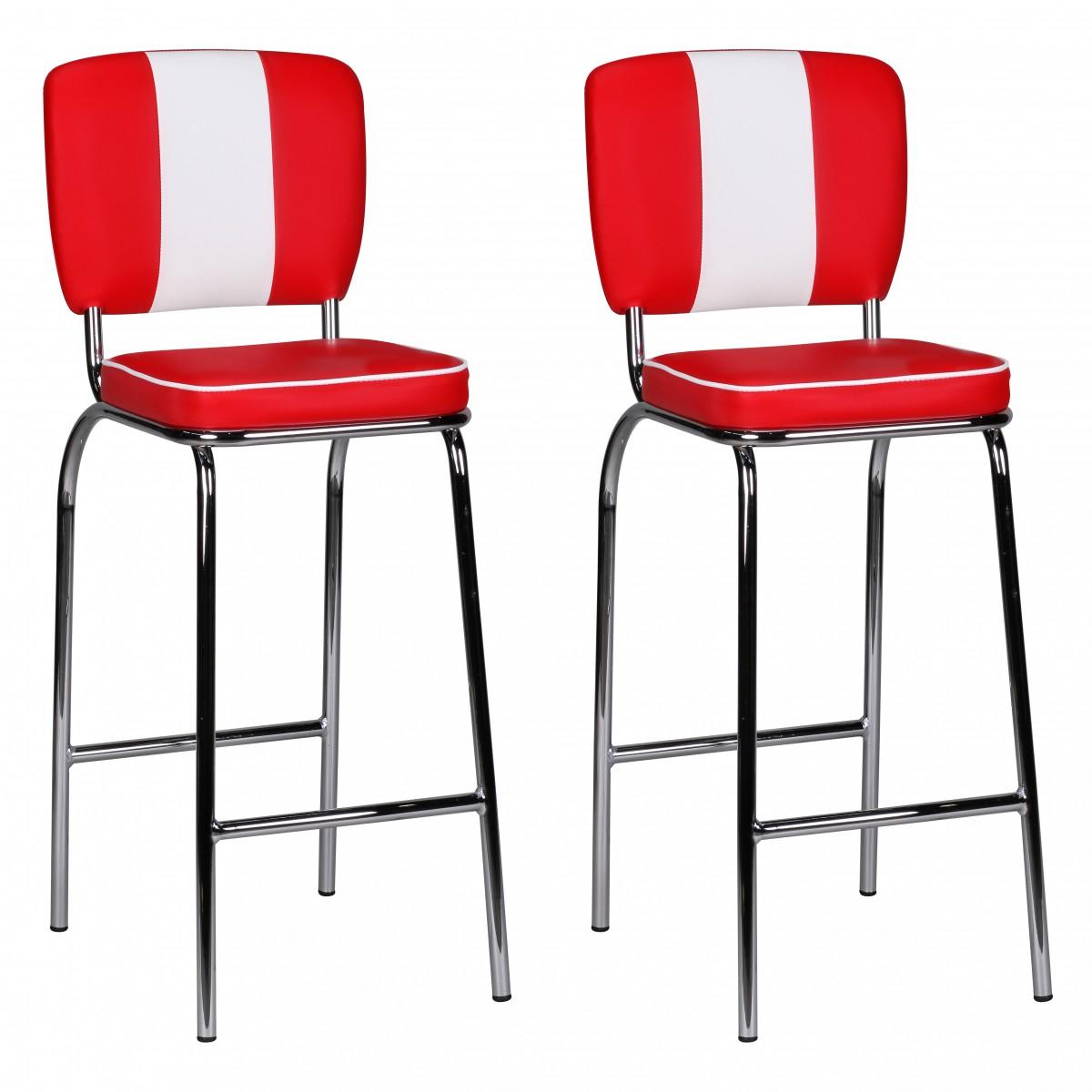 2x design barstuhl american diner 50er retro rot wei. Black Bedroom Furniture Sets. Home Design Ideas