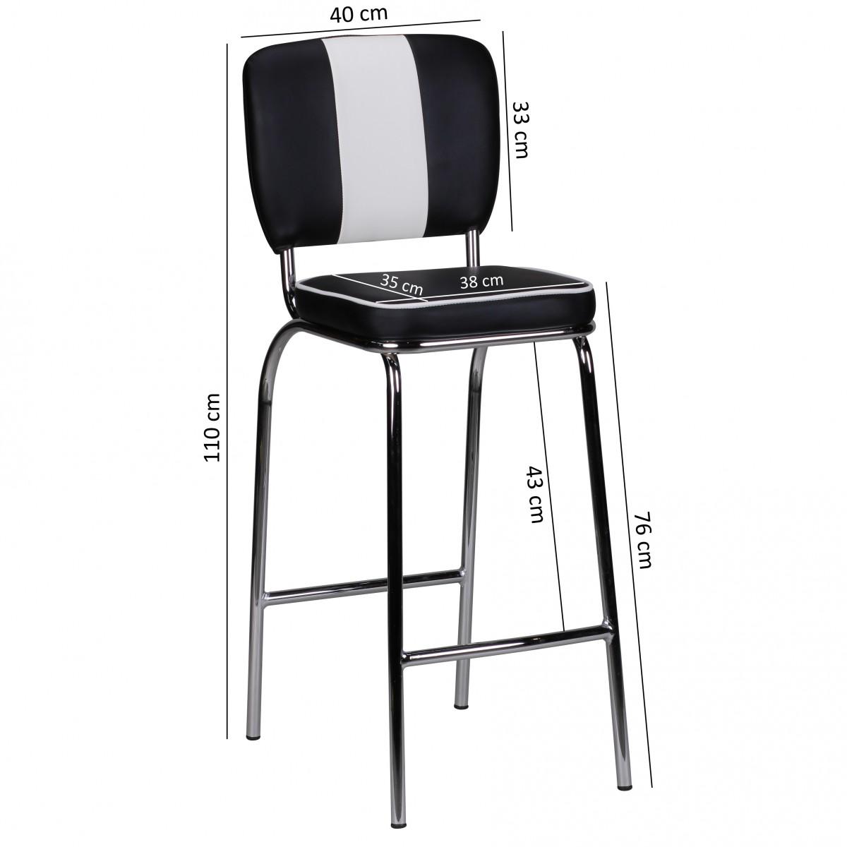 4x design barstuhl american diner 50er retro schwarz wei. Black Bedroom Furniture Sets. Home Design Ideas
