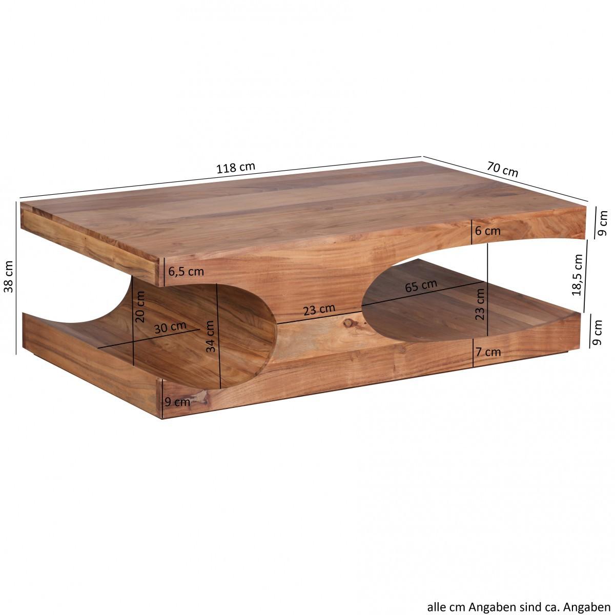 finebuy couchtisch massivholz akazie 120 cm breit. Black Bedroom Furniture Sets. Home Design Ideas