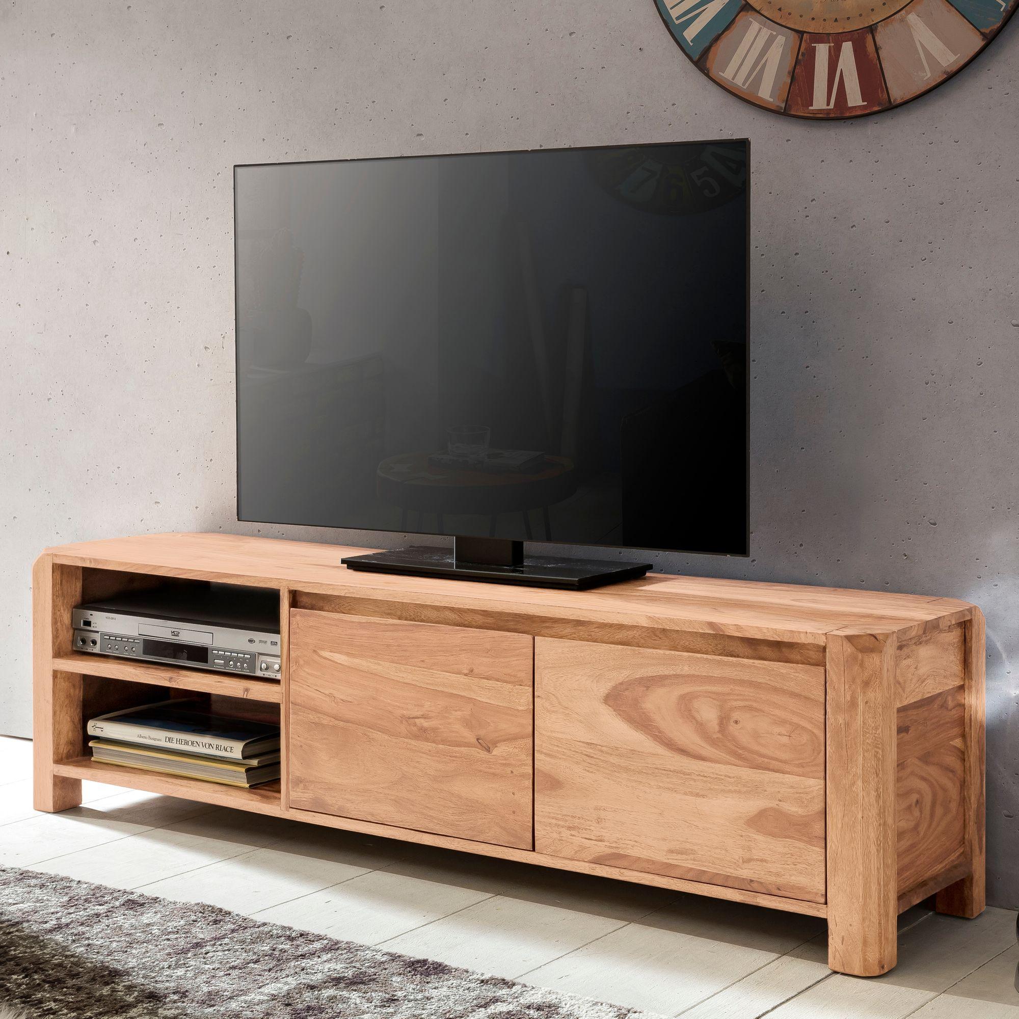 Wohnling Lowboard Boha Massivholz Akazie Kommode 140 Cm Tv Board