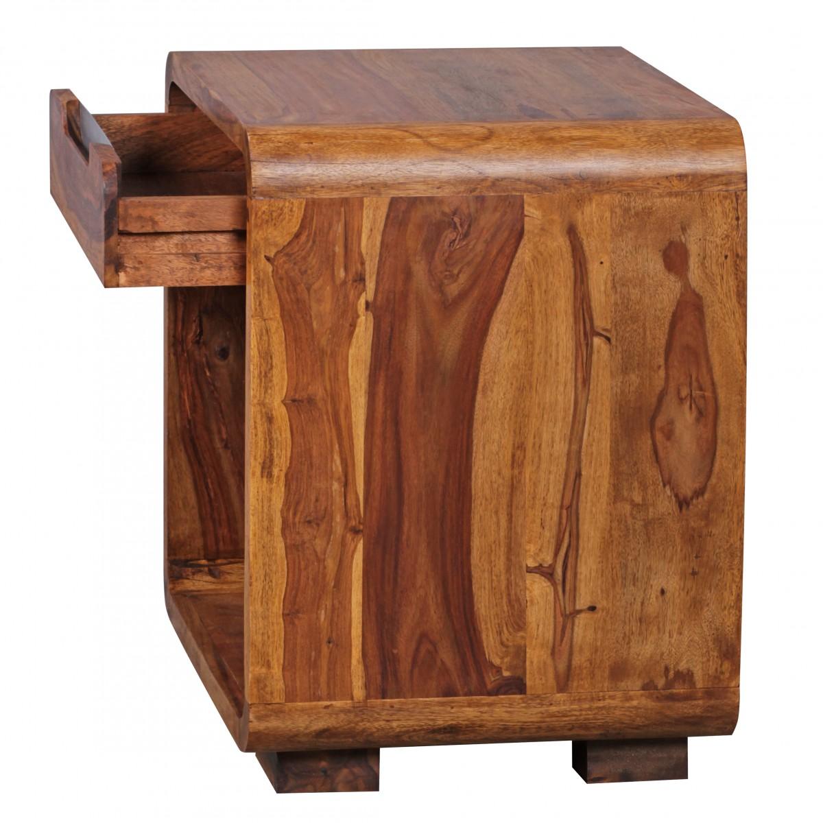 WOHNLING Nachttisch BOHA Massiv-Holz Sheesham Design Nachtkommode ...