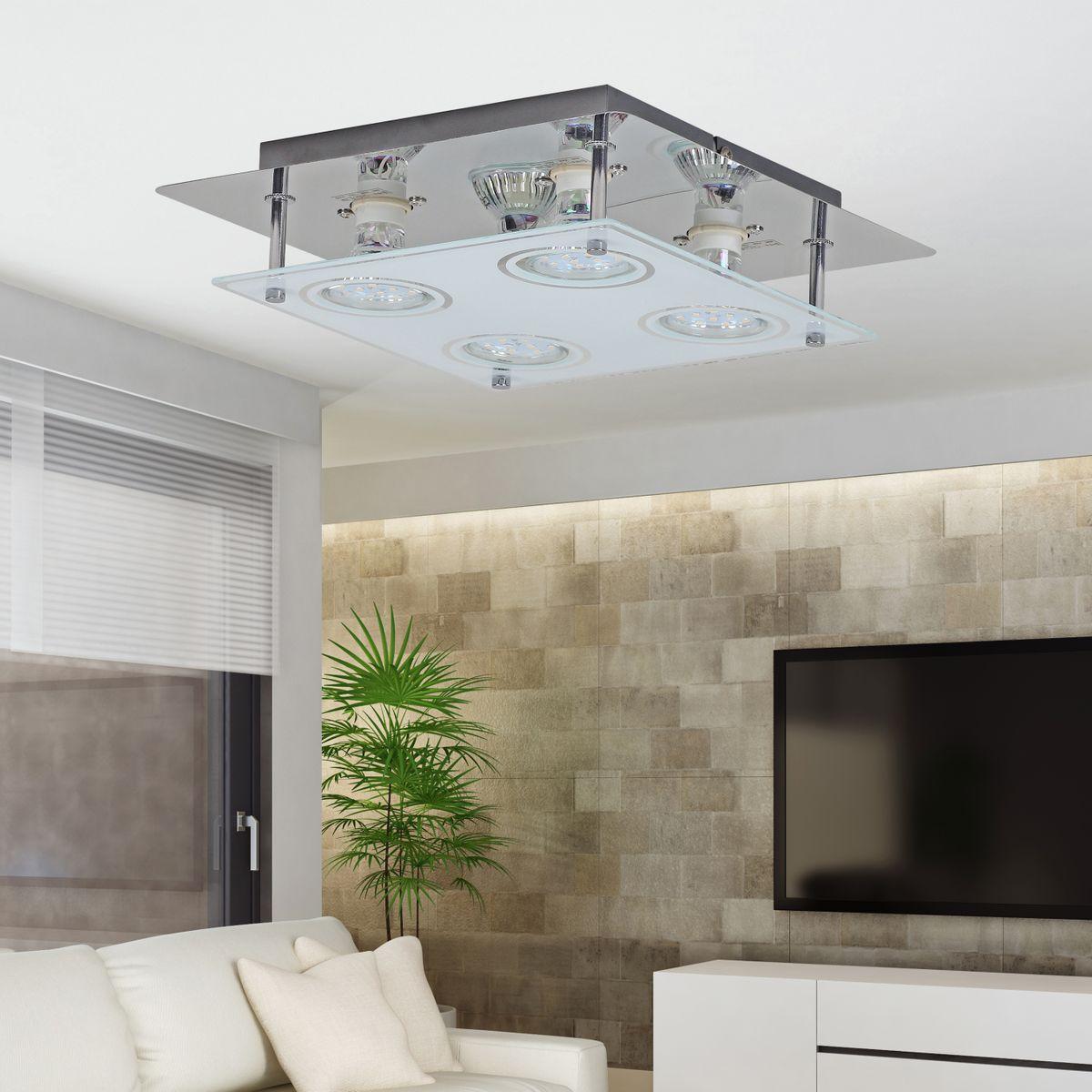 finebuy 4 flammige led deckenlampe gu10 quadratisch inkl 4x 3 watt leuchtmittel deckenleuchte. Black Bedroom Furniture Sets. Home Design Ideas