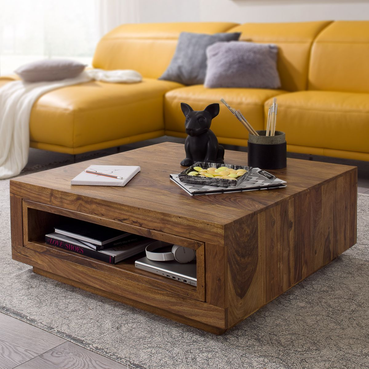 massiver couchtisch flora holz sheesham 88 x 88 x 35 cm mit schublade ausziehbar. Black Bedroom Furniture Sets. Home Design Ideas