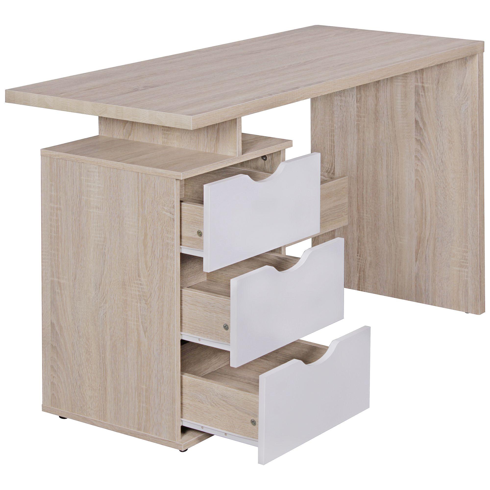 WOHNLING Retro Schreibtisch SAMO Bürotisch Schublade Sonoma/Weiß ...
