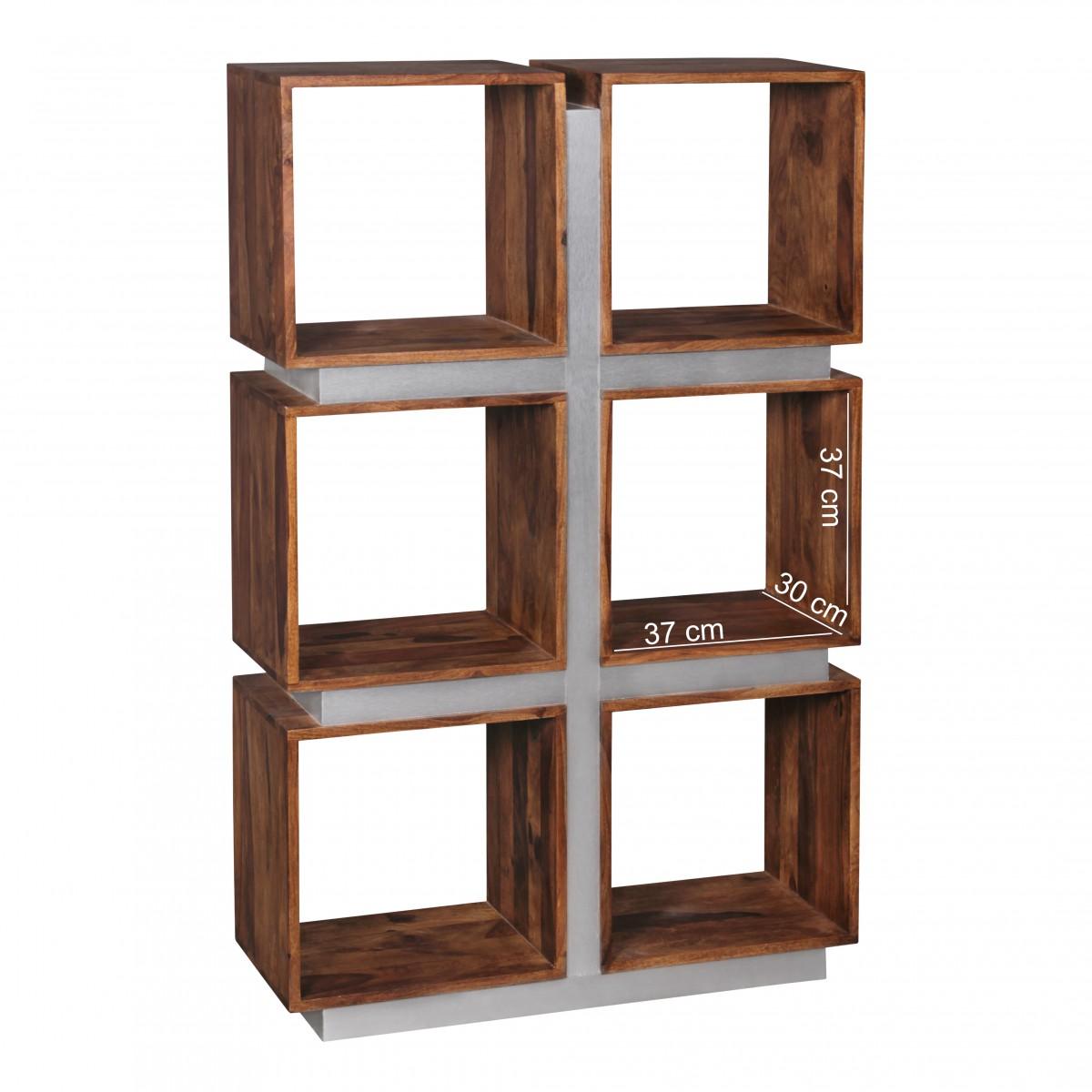 wohnling b cherregal massivholz sheesham 135x85cm raumteiler regal landhaus stil ebay. Black Bedroom Furniture Sets. Home Design Ideas
