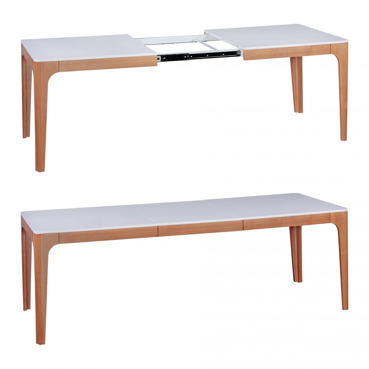 Esstisch ausziehbar weiß holz  WOHNLING Esszimmertisch NORA 160-220 x 76 x 90 cm MDF Holz ...
