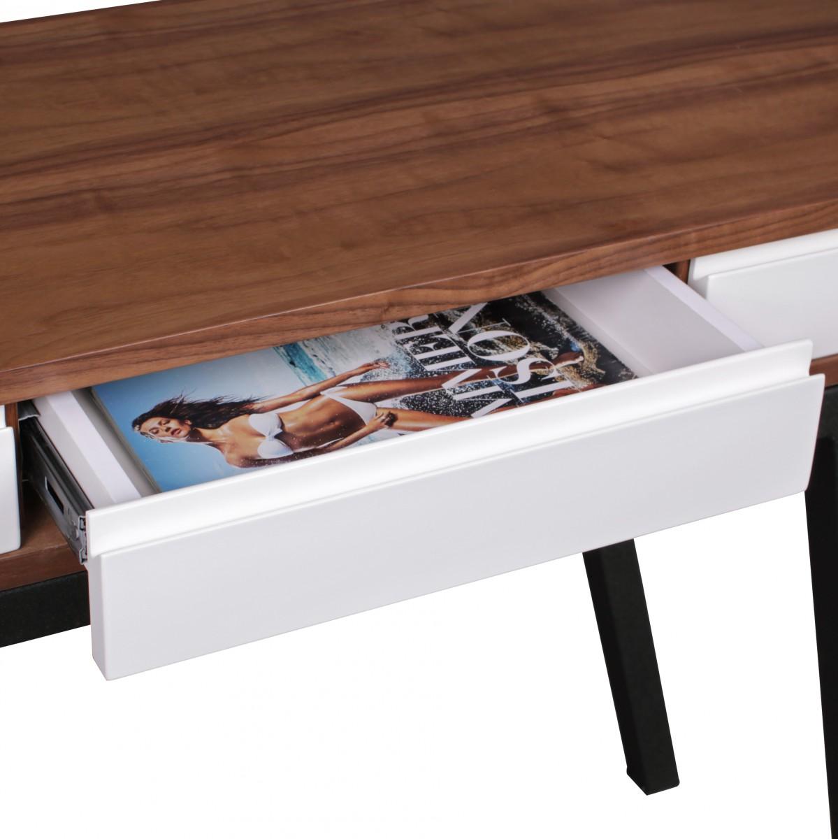 Schreibtisch Retro Walnuss Berry 3 Schubladen Holz Metall Anrichte