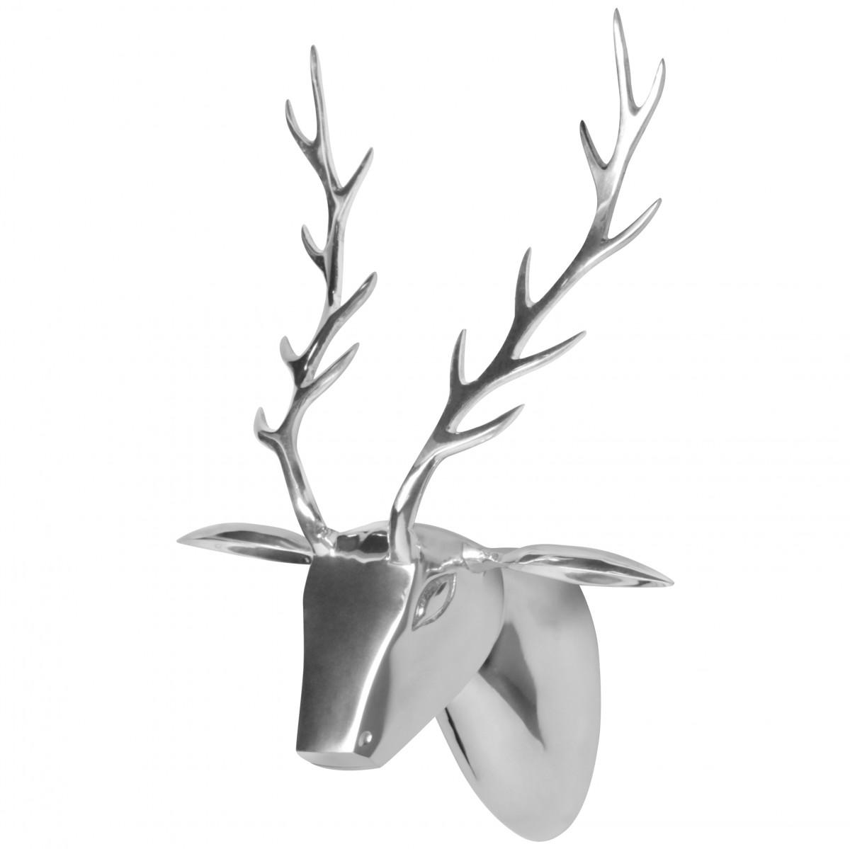Metall wanddeko rehkopf silber metall deko wohnzimmer for Dekoration wohnzimmer ebay