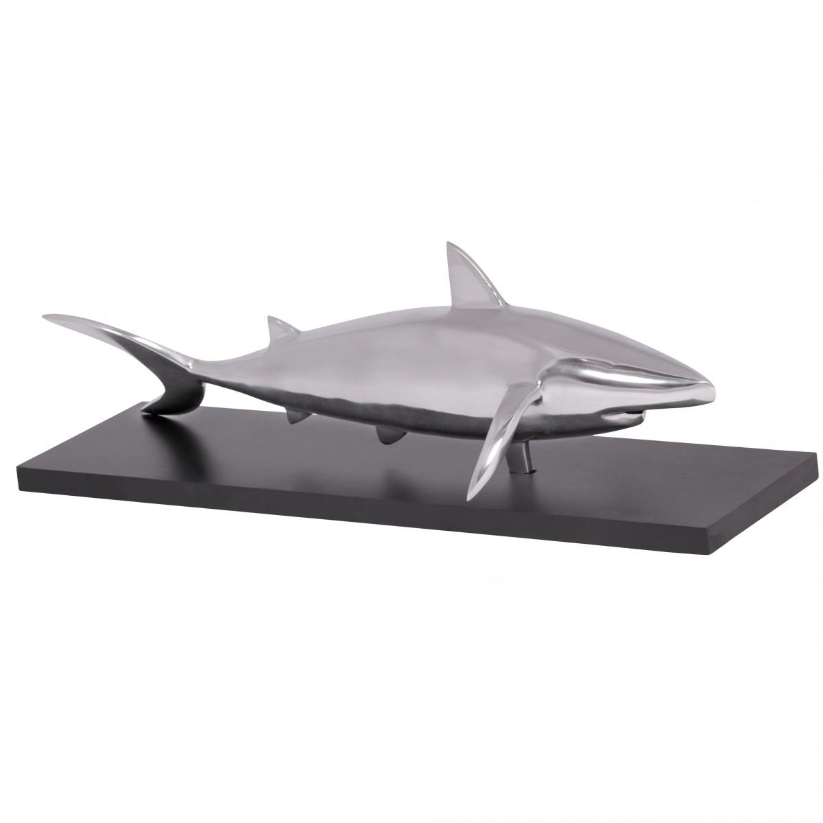 WOHNLING Haifisch Dekoskulptur SHARK Design Aluminium Deko Wohnzimmer  Ess Tisch Dekoration Wohnung Wohndeko Silber