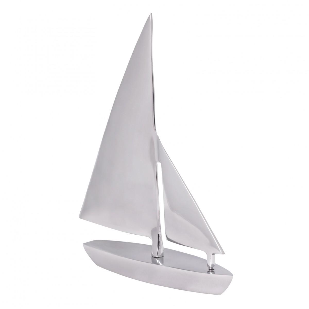 WOHNLING Deko Segelboot Aluminium Design Segelyacht Silber Wohndeko Klipper Esstisch-Dekoration Segelkutter modern