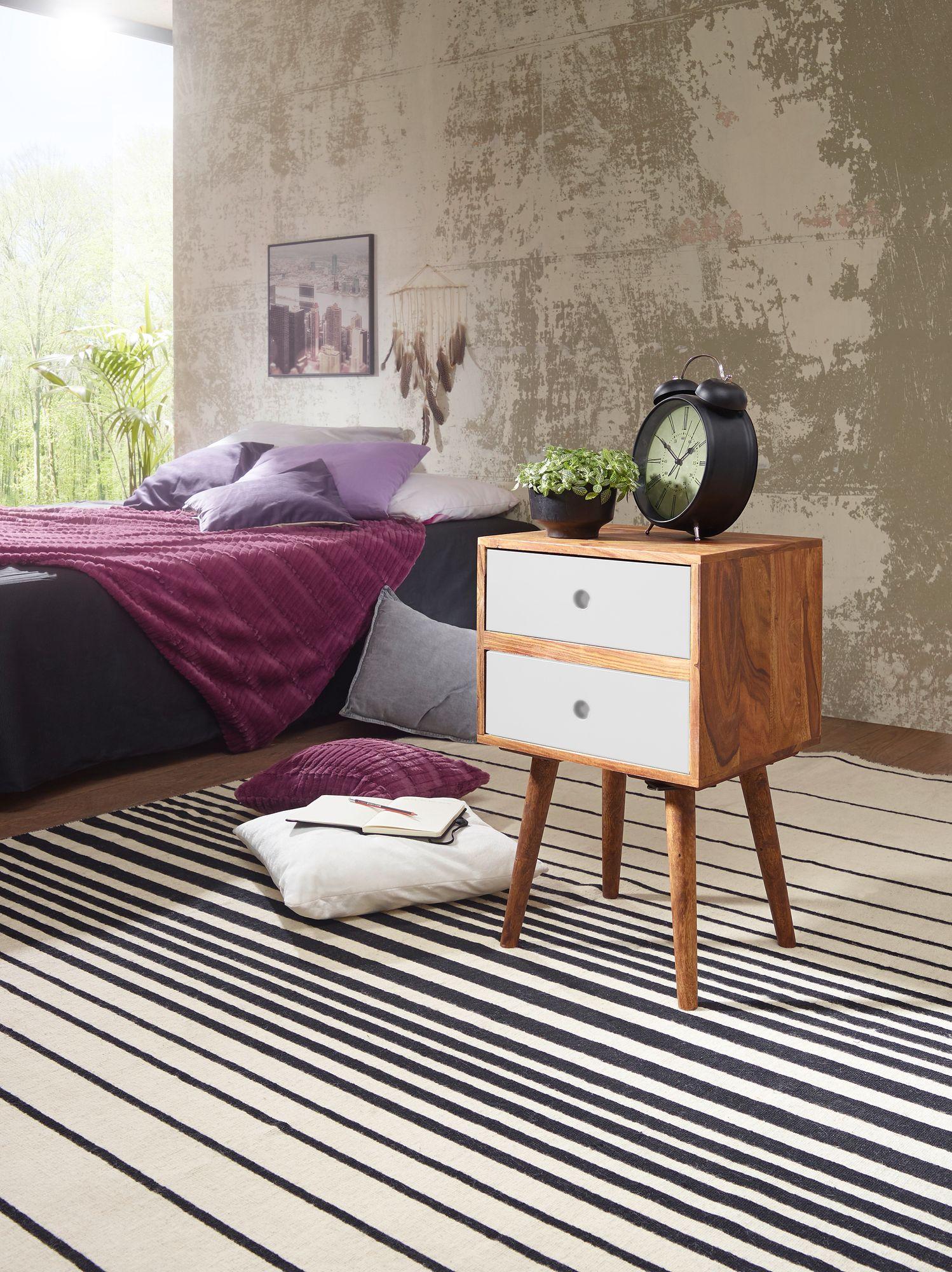 Retro Nachtkonsole Nachtschrank Holz Nachtkästchen Schlafzimmer braun / weiß