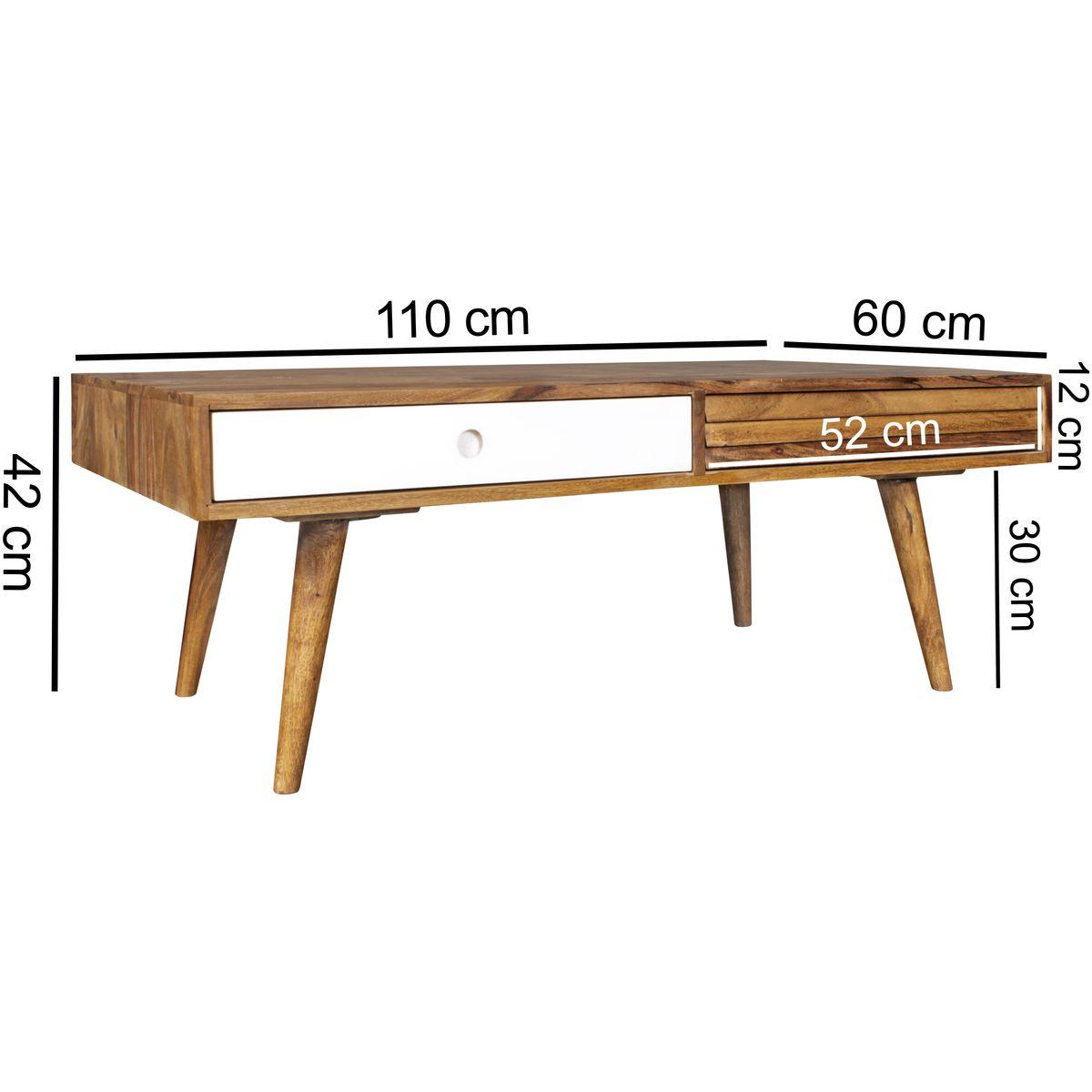 Wohnling retro couchtisch repa massivholz 110 x 60 x 40 cm for Wohnzimmertisch 60 cm